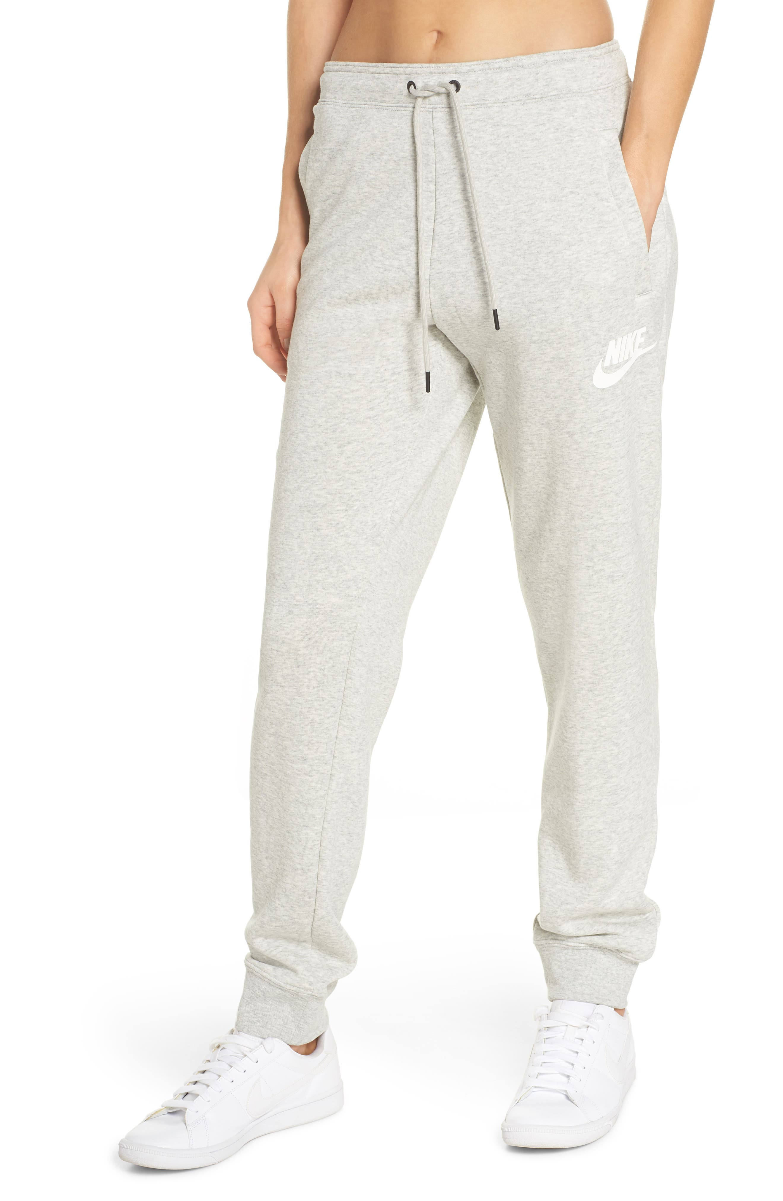 NIKE, Sportswear Rally Jogger Pants, Main thumbnail 1, color, GREY HEATHER/ PALE GREY/ WHITE