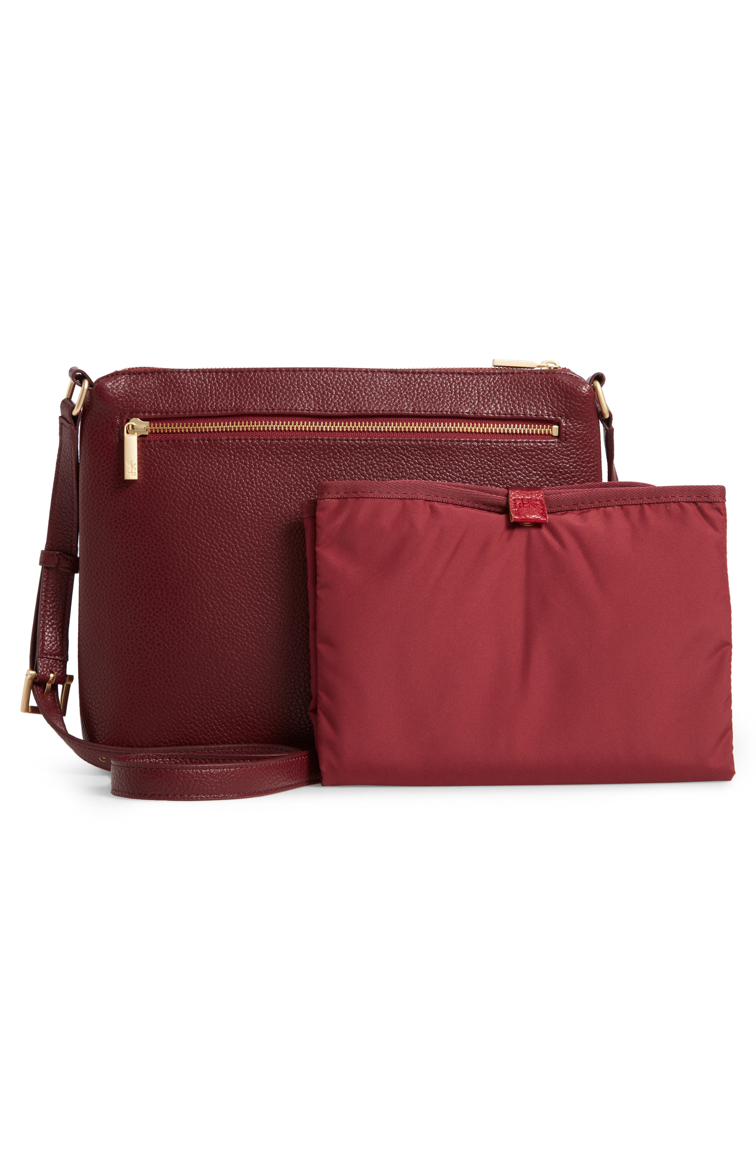 FRESHLY PICKED, Classic Faux Leather Crossbody Diaper Bag, Alternate thumbnail 3, color, BURGUNDY