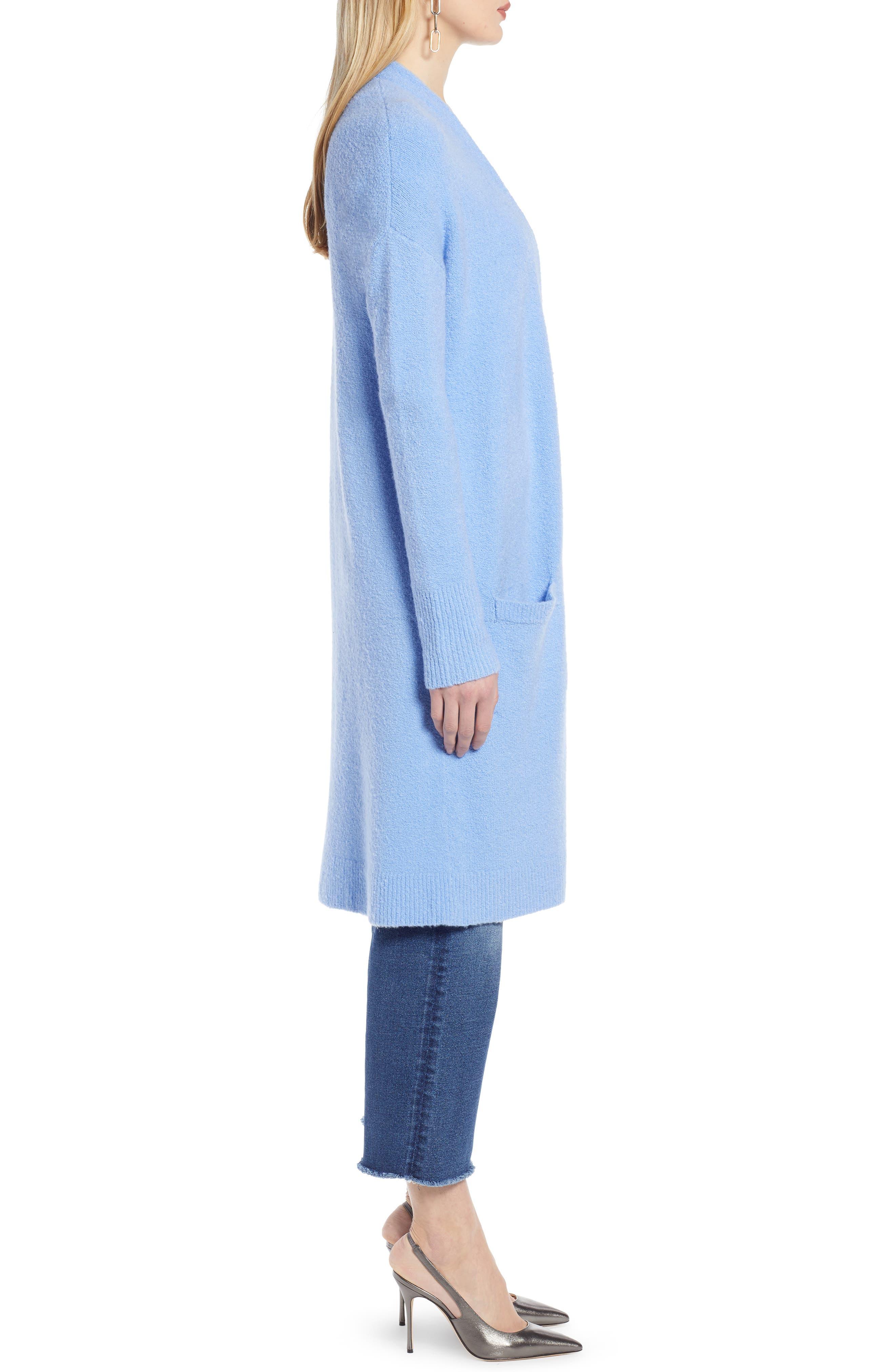 HALOGEN<SUP>®</SUP>, Long Open Front Cardigan, Alternate thumbnail 3, color, BLUE CORNFLOWER