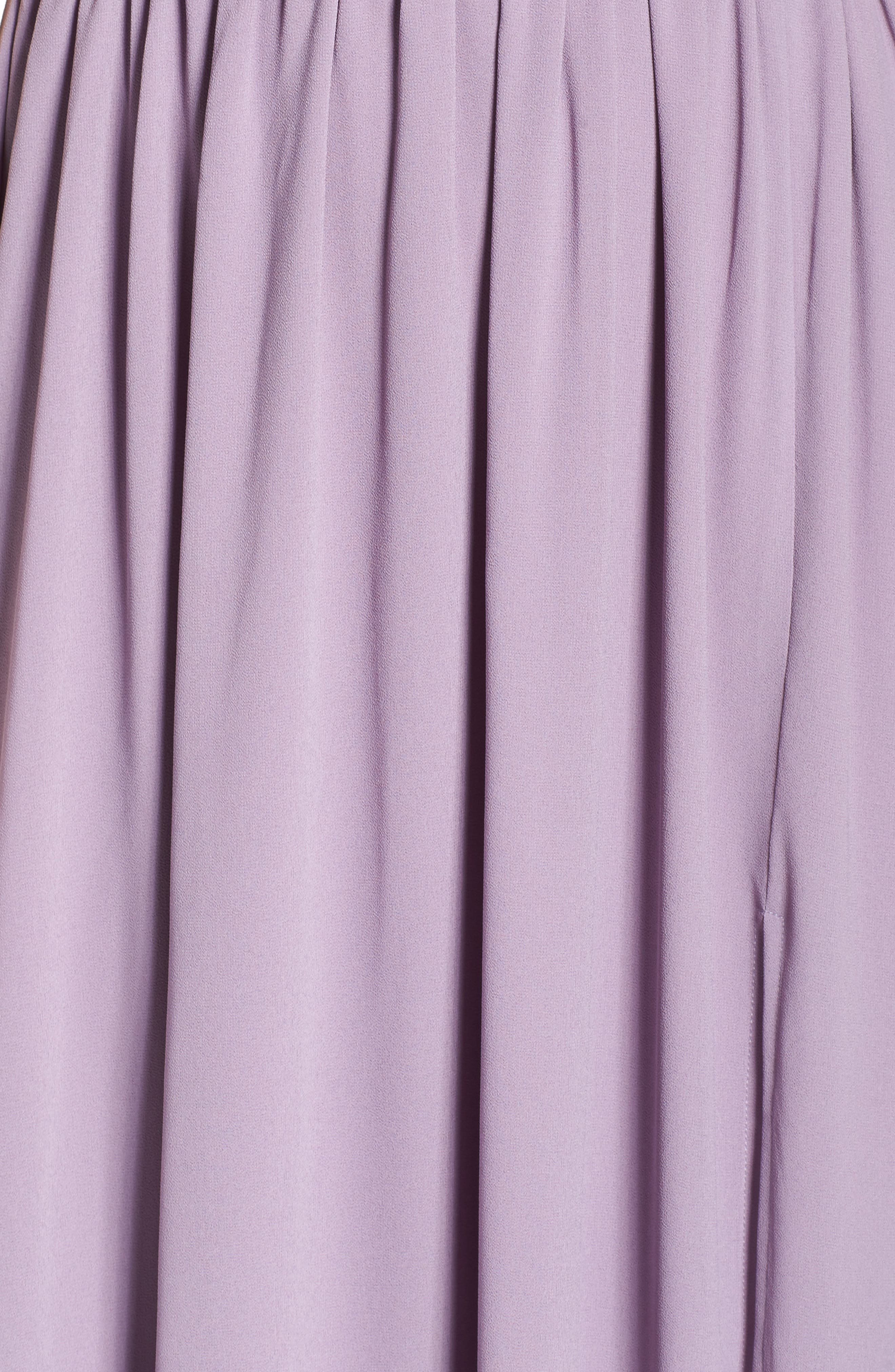 LULUS, Plunging V-Neck Chiffon Gown, Alternate thumbnail 6, color, DUSTY VIOLET