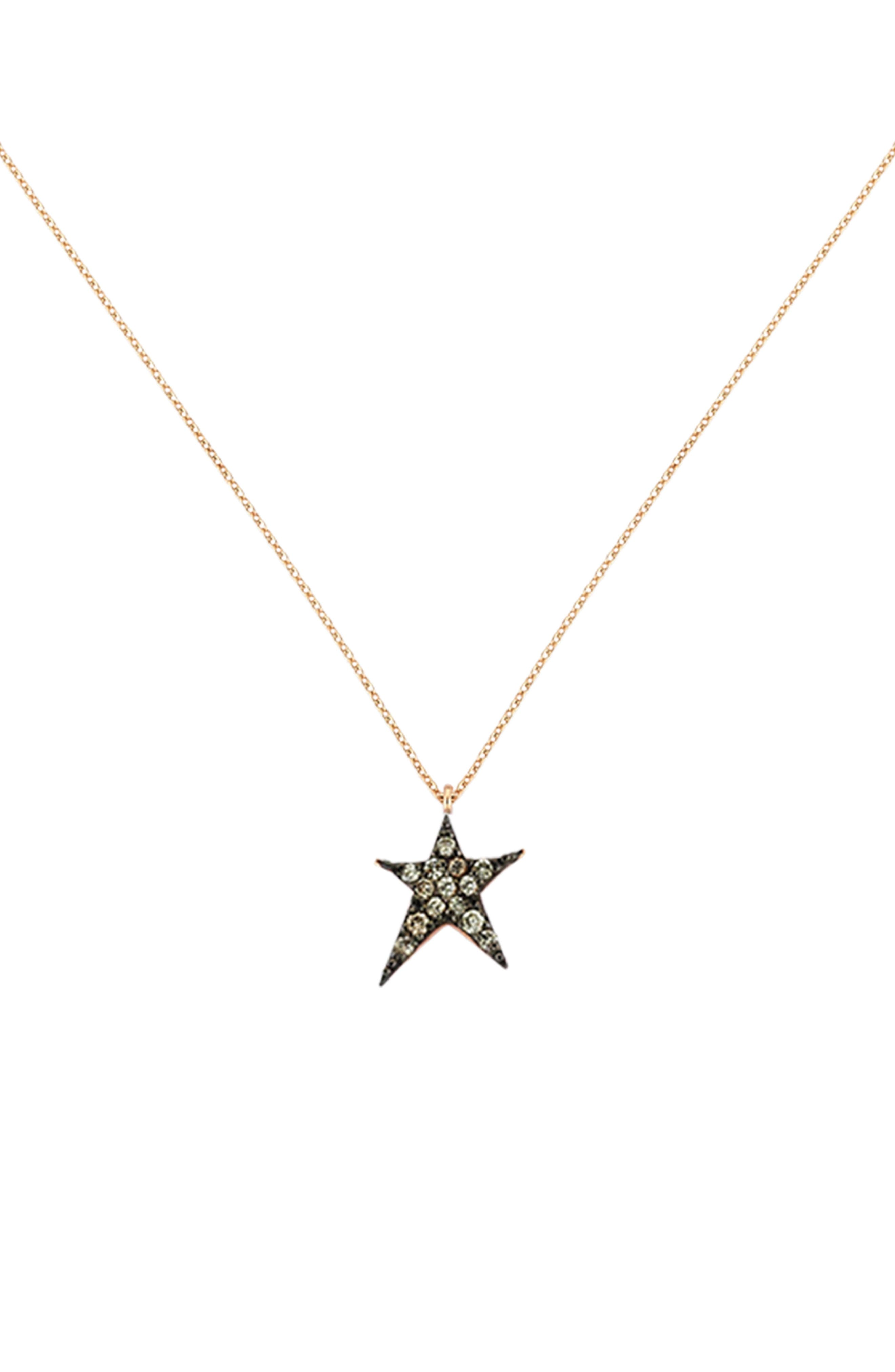 KISMET BY MILKA, Struck Star Champagne Diamond Necklace, Main thumbnail 1, color, ROSE GOLD