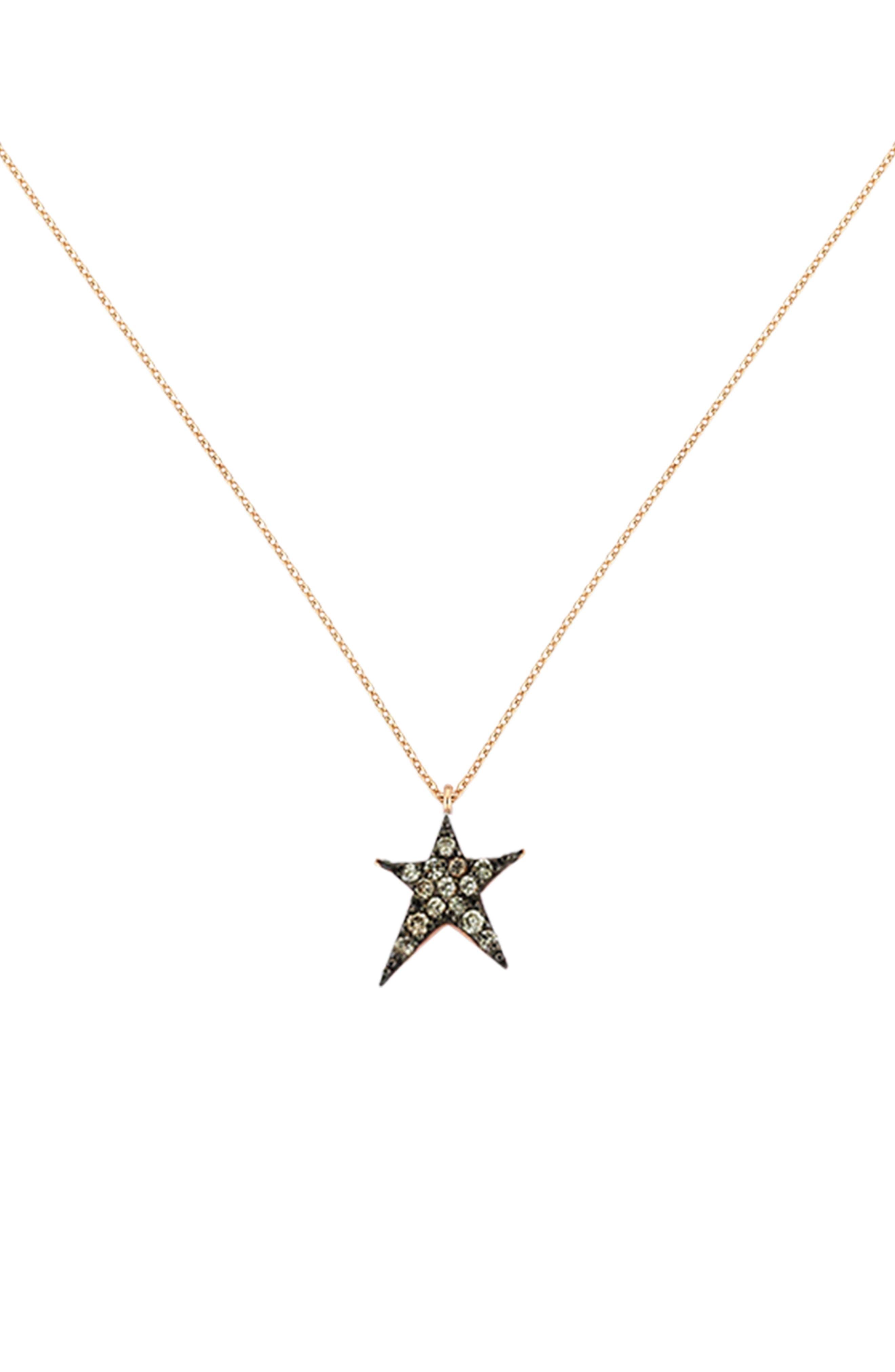 KISMET BY MILKA Struck Star Champagne Diamond Necklace, Main, color, ROSE GOLD