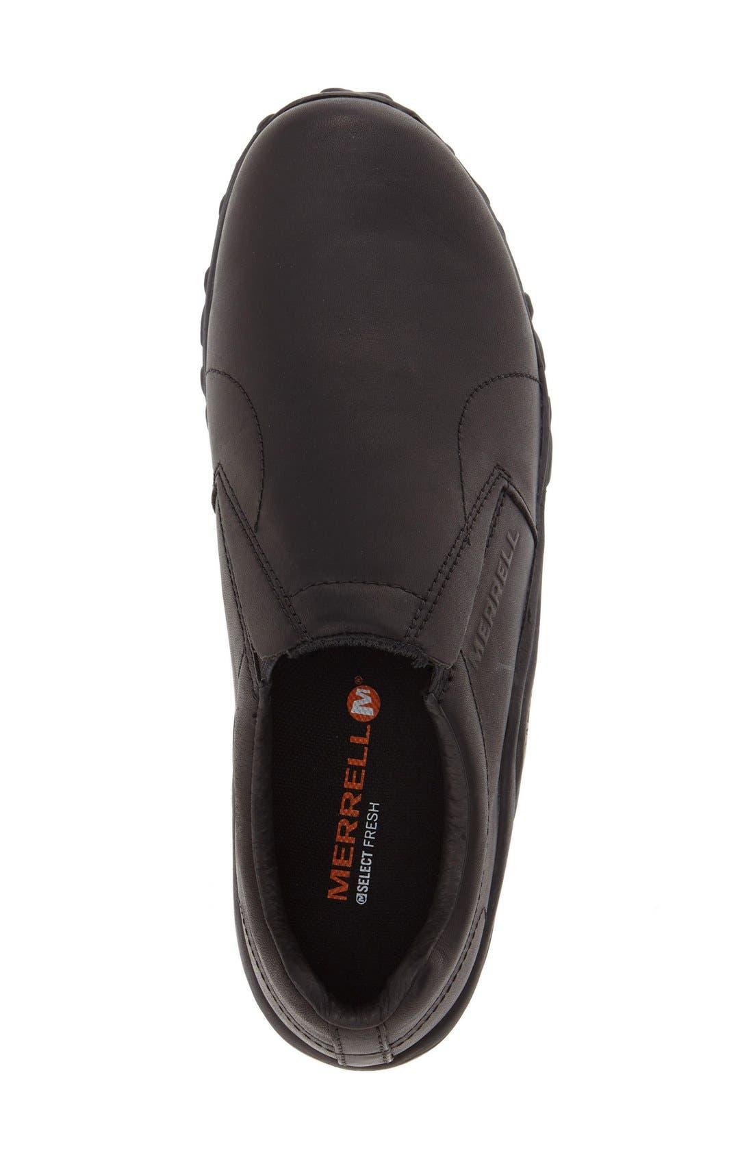 MERRELL, 'Jungle Moc' Leather Athletic Slip-On, Alternate thumbnail 4, color, BLACK
