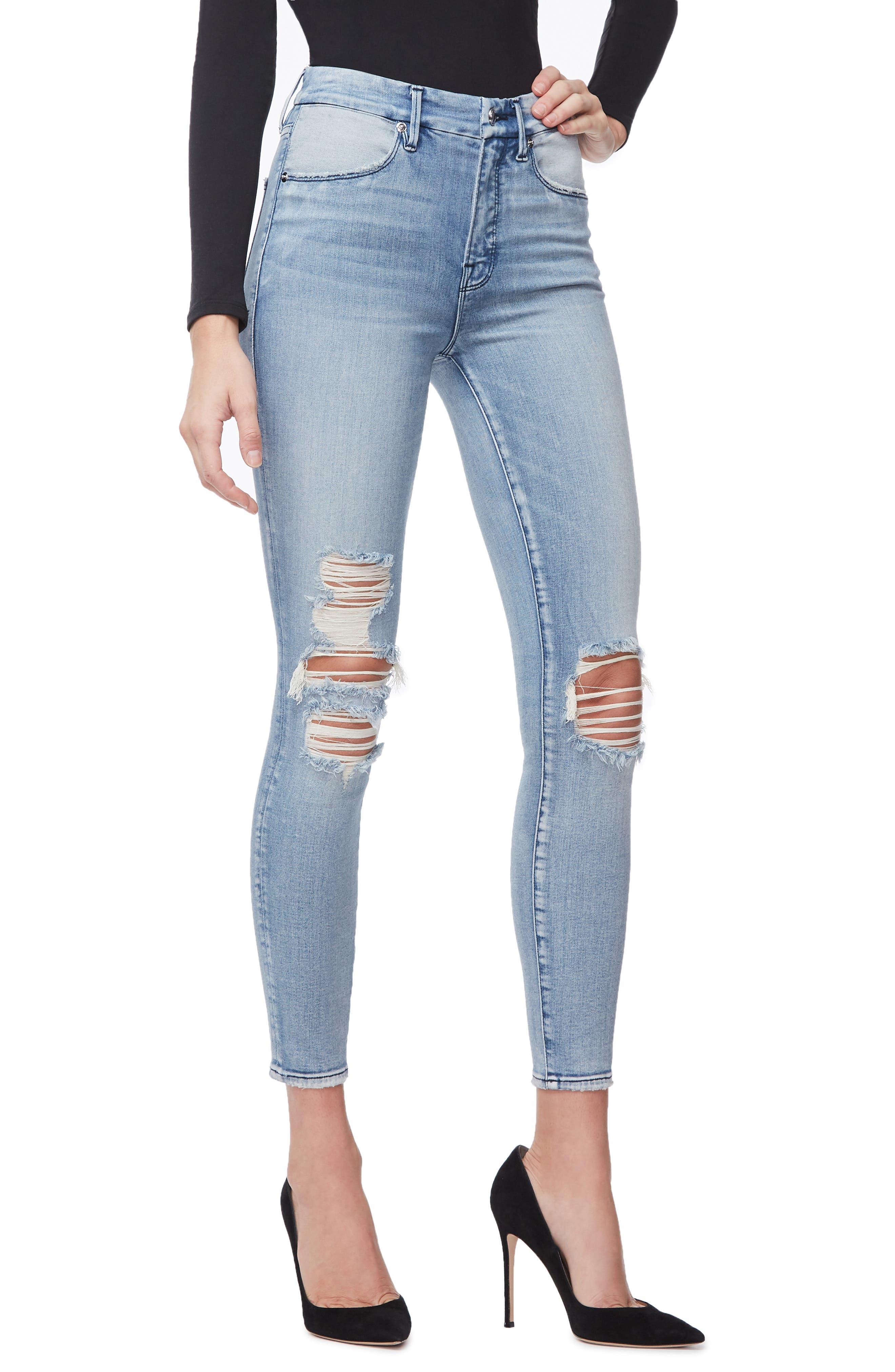 GOOD AMERICAN, Good Waist Ripped High Waist Crop Skinny Jeans, Alternate thumbnail 5, color, BLUE250