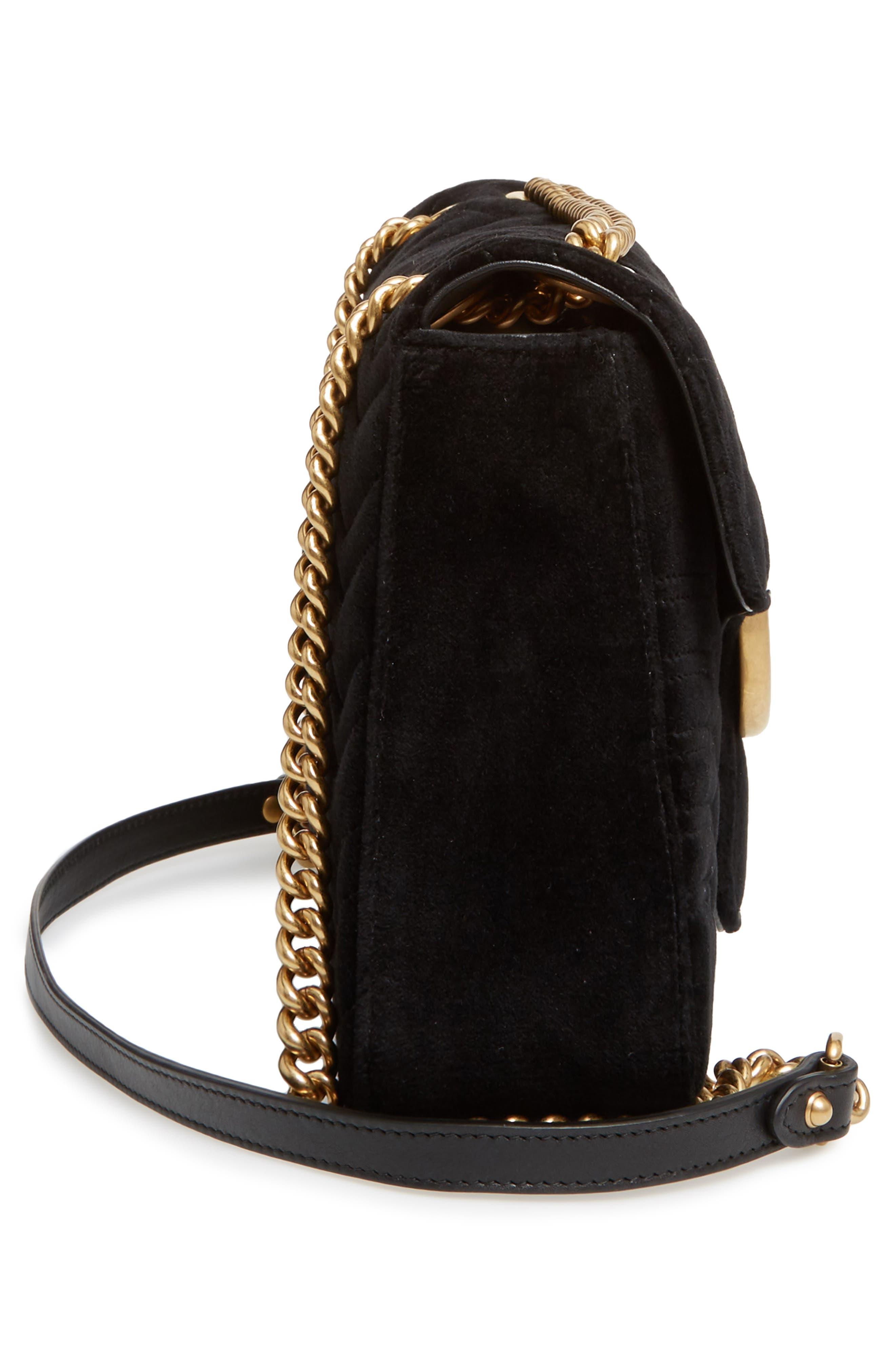 GUCCI, Medium GG Marmont 2.0 Matelassé Velvet Shoulder Bag, Alternate thumbnail 5, color, NERO