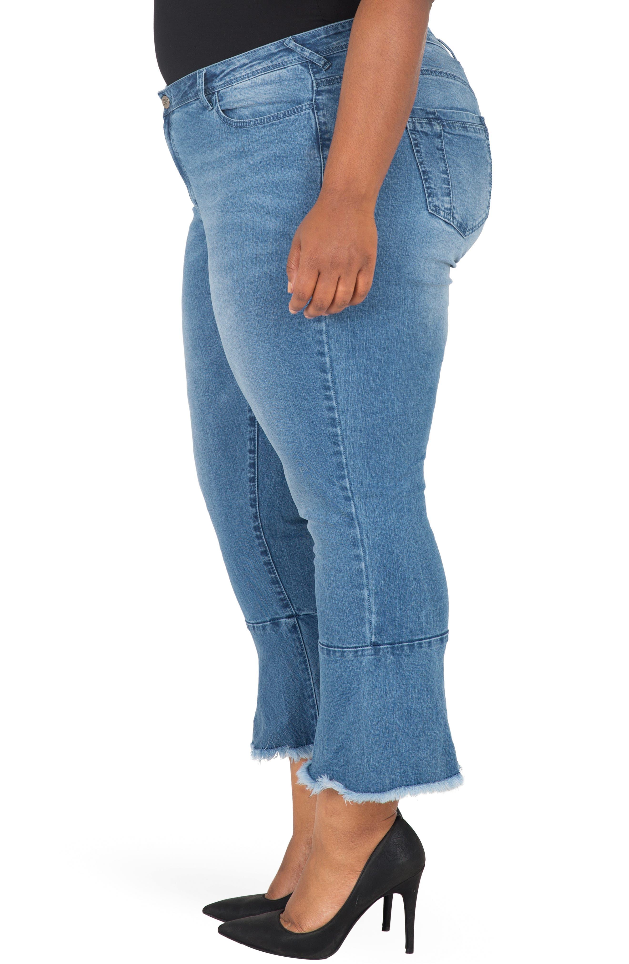POETIC JUSTICE, Kesha Ruffle Skinny Jeans, Alternate thumbnail 3, color, BLUE