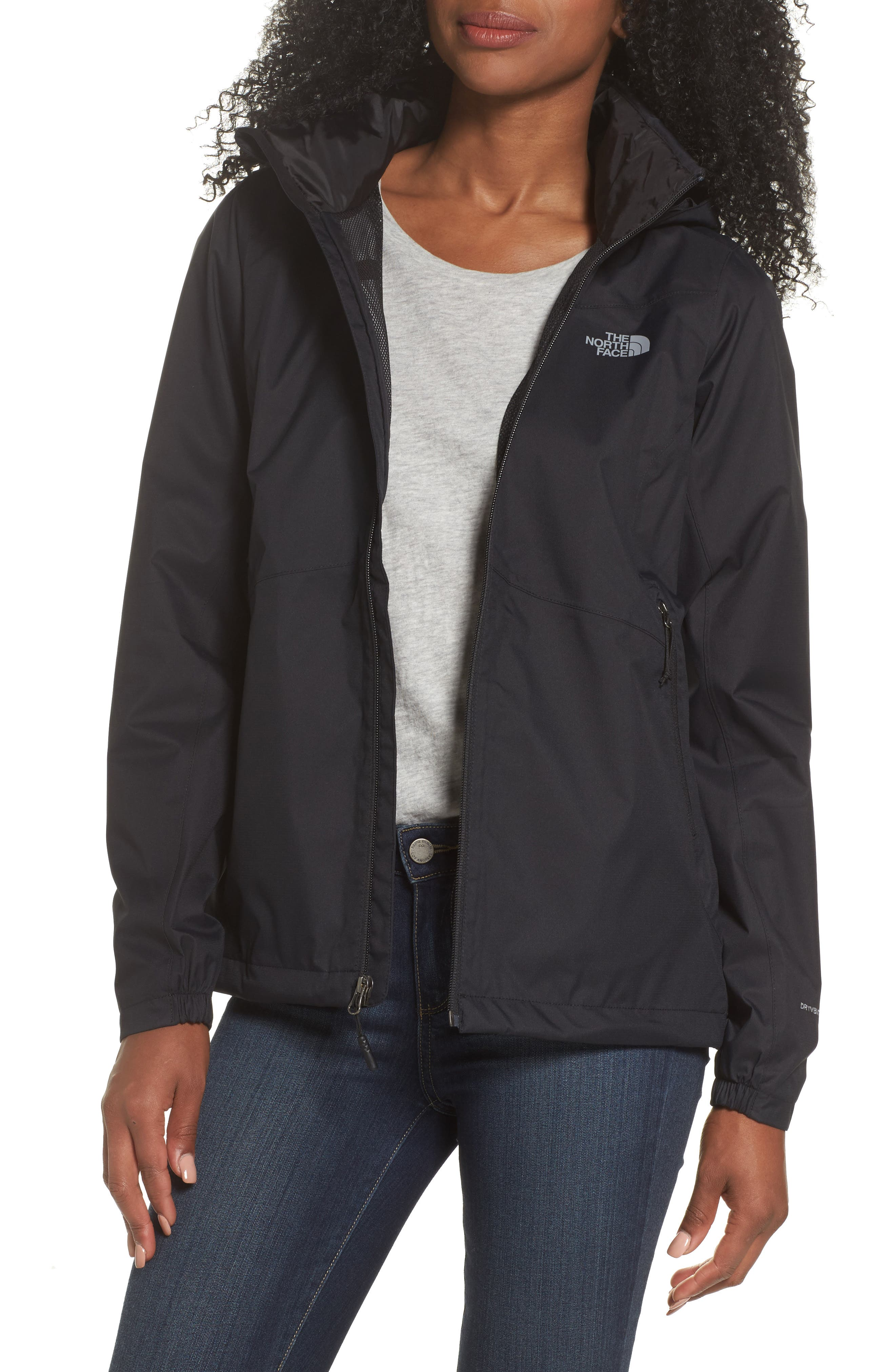 THE NORTH FACE, Resolve Plus Waterproof Jacket, Main thumbnail 1, color, TNF BLACK