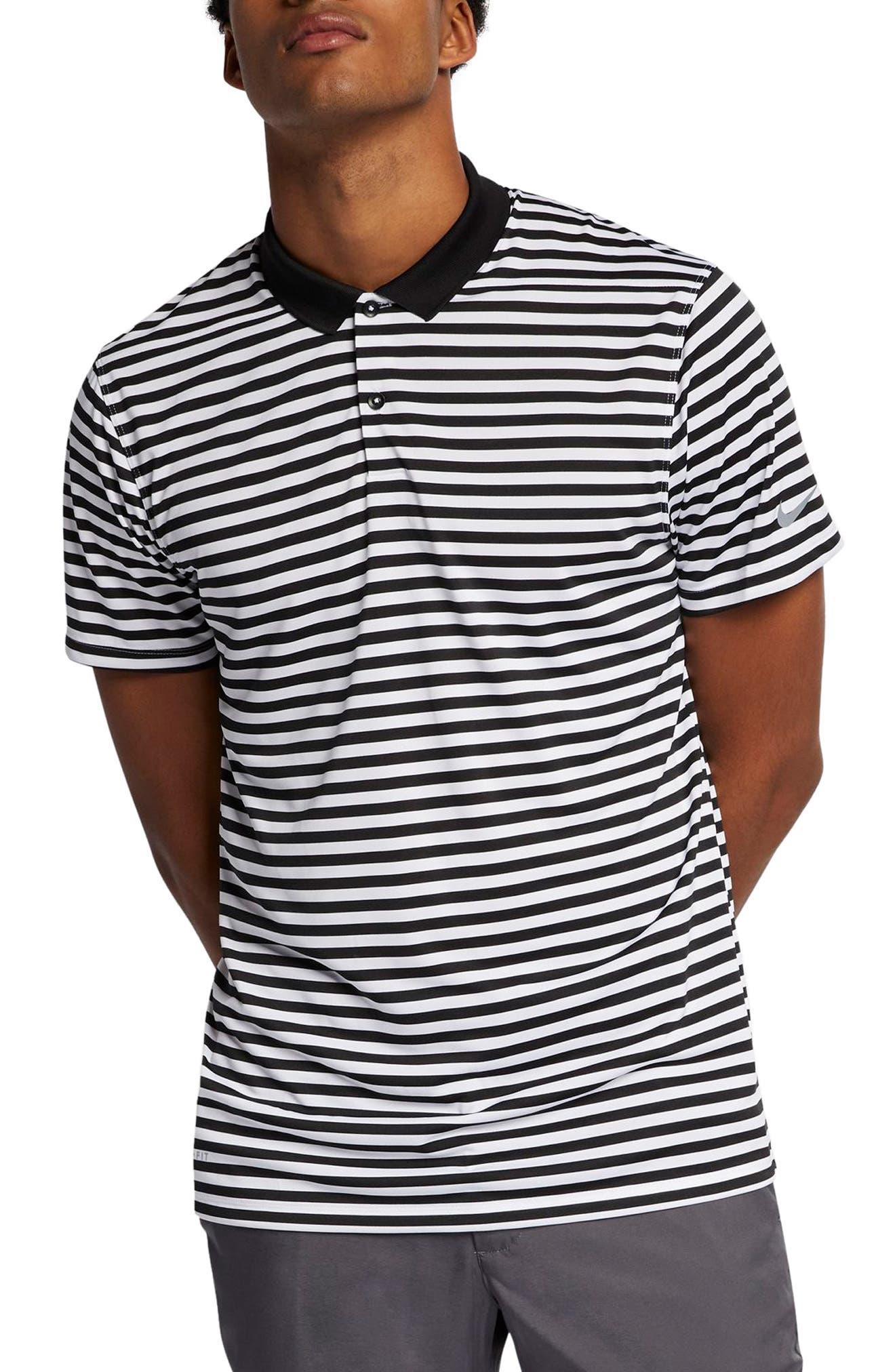 NIKE, Victory Stripe Dri-FIT Golf Polo, Main thumbnail 1, color, BLACK/ WHITE/COOL GREY