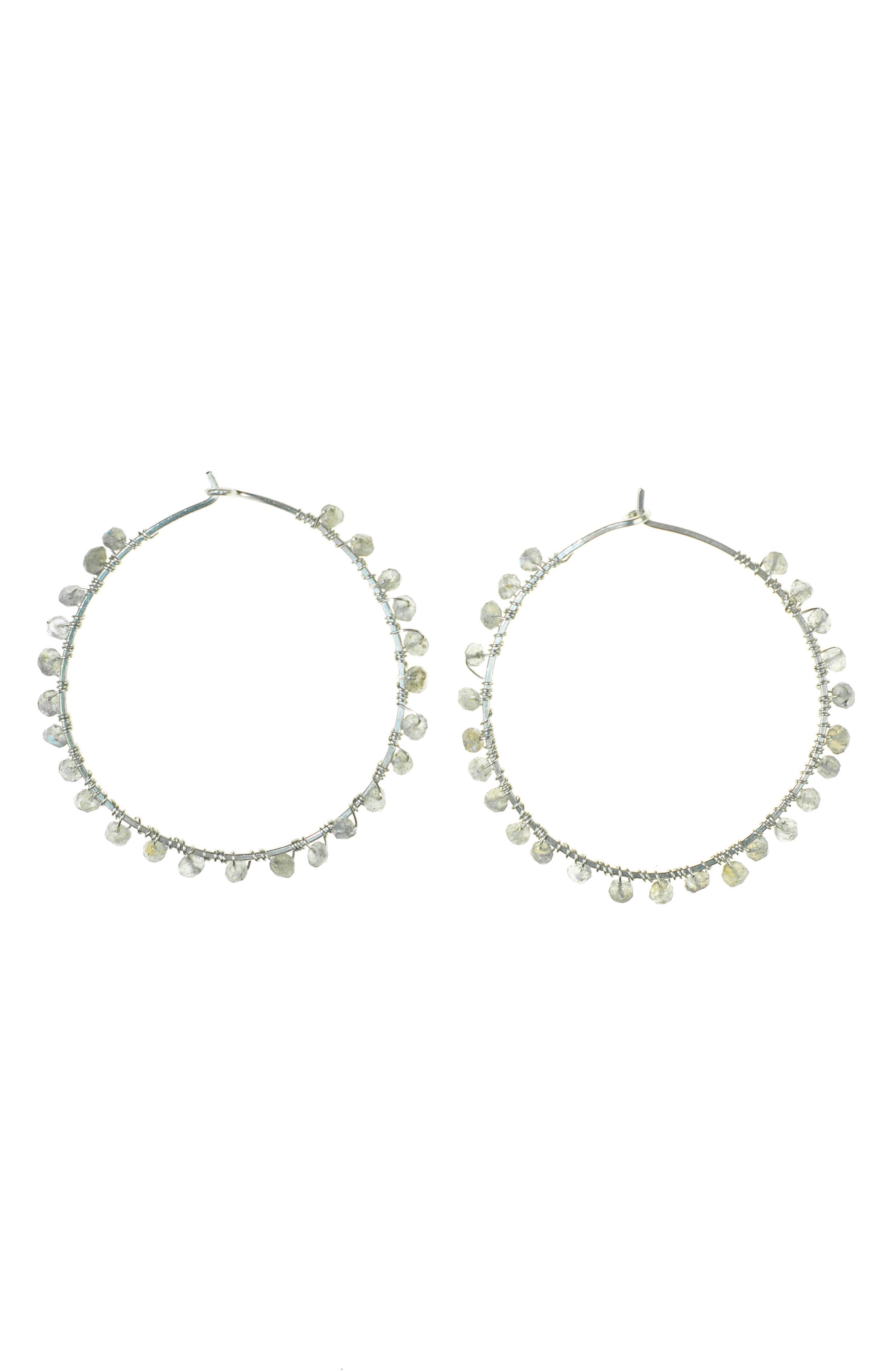 NASHELLE Cascade Hoop Earrings, Main, color, SILVER