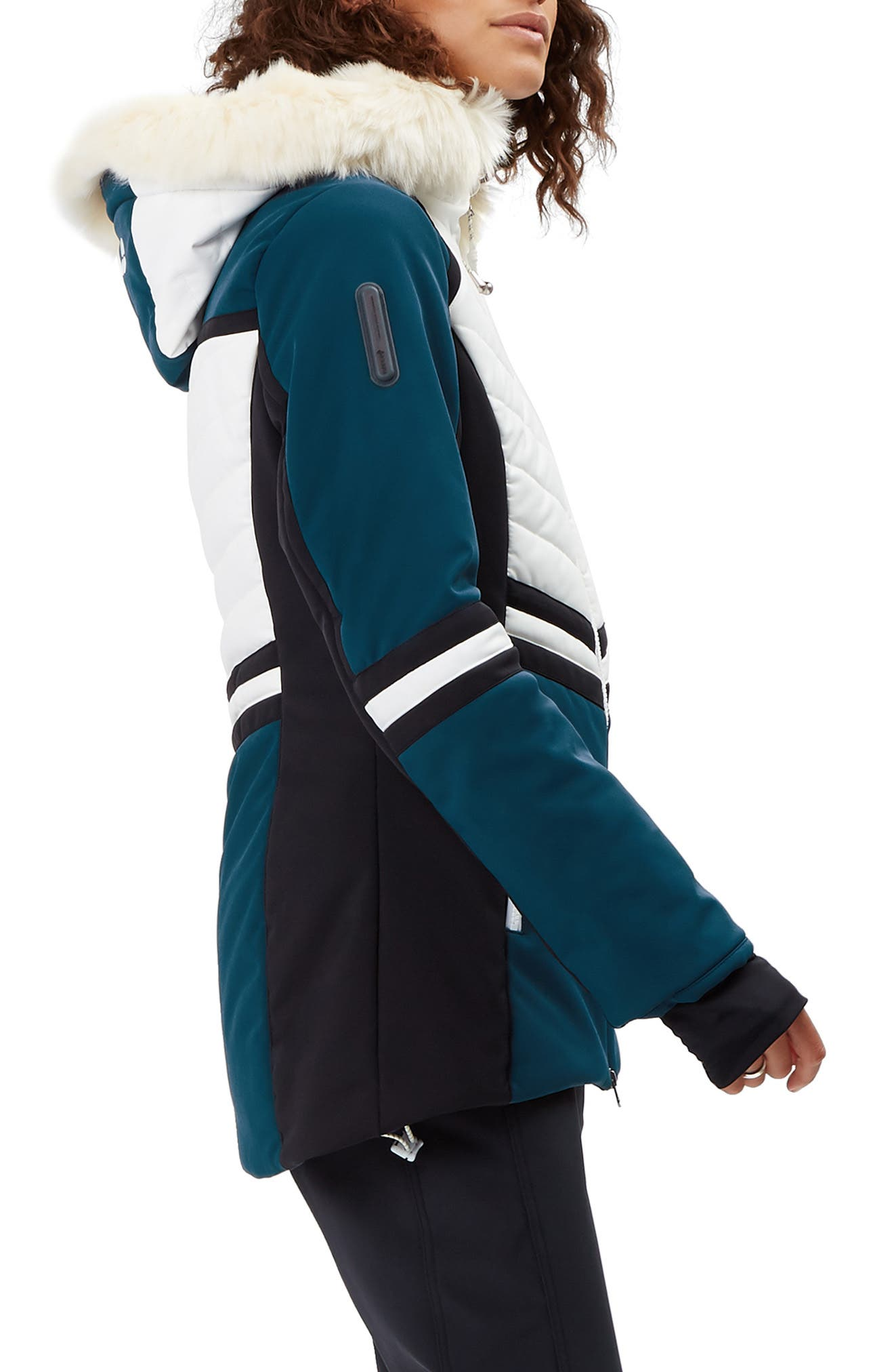 SWEATY BETTY, Method Hybrid Waterproof Ski Jacket with Faux Fur, Alternate thumbnail 4, color, BEETLE BLUE COLOUR BLOCK