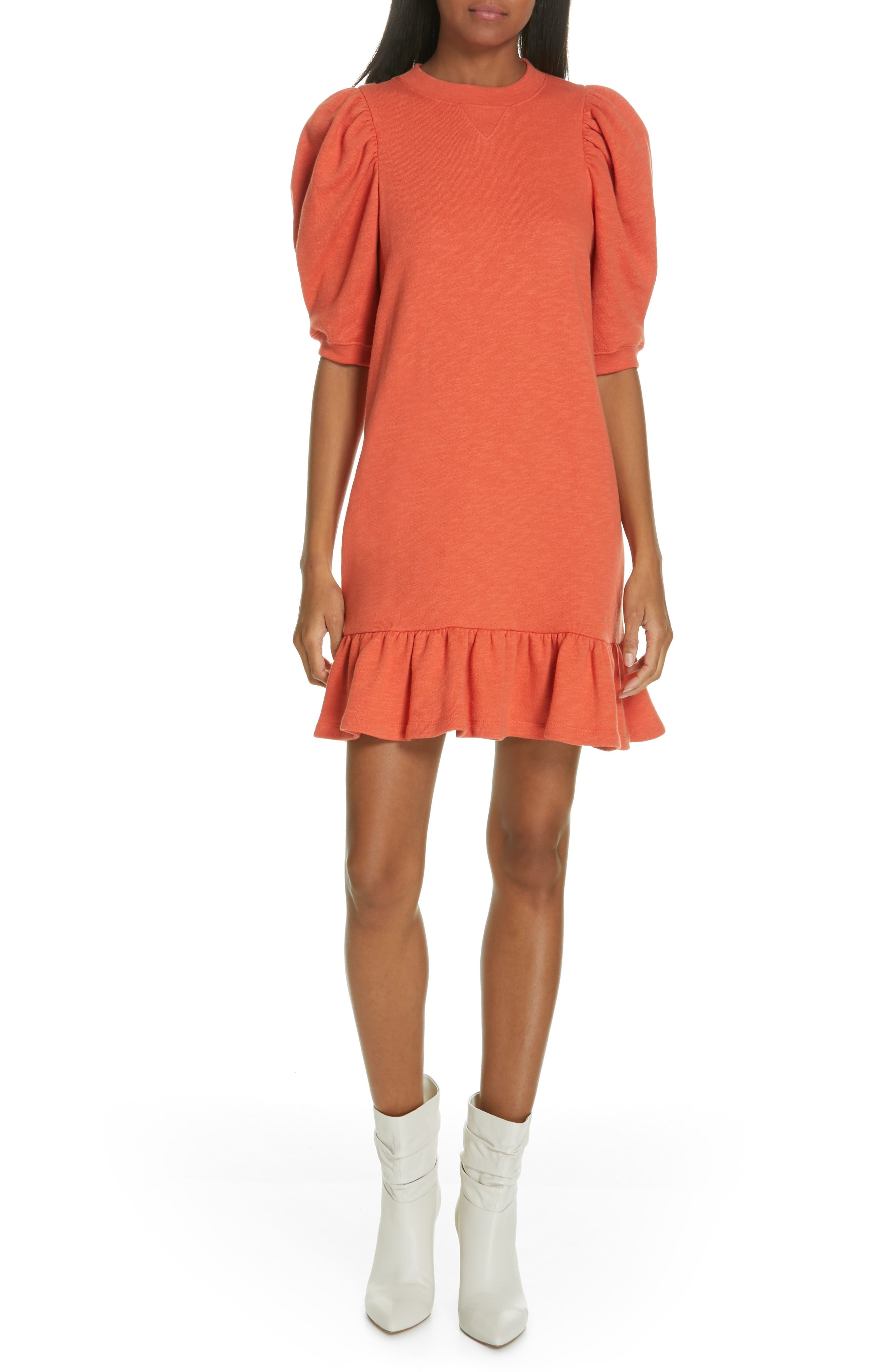 ULLA JOHNSON, Landry Puff Sleeve Sweatshirt Dress, Alternate thumbnail 5, color, CHILI