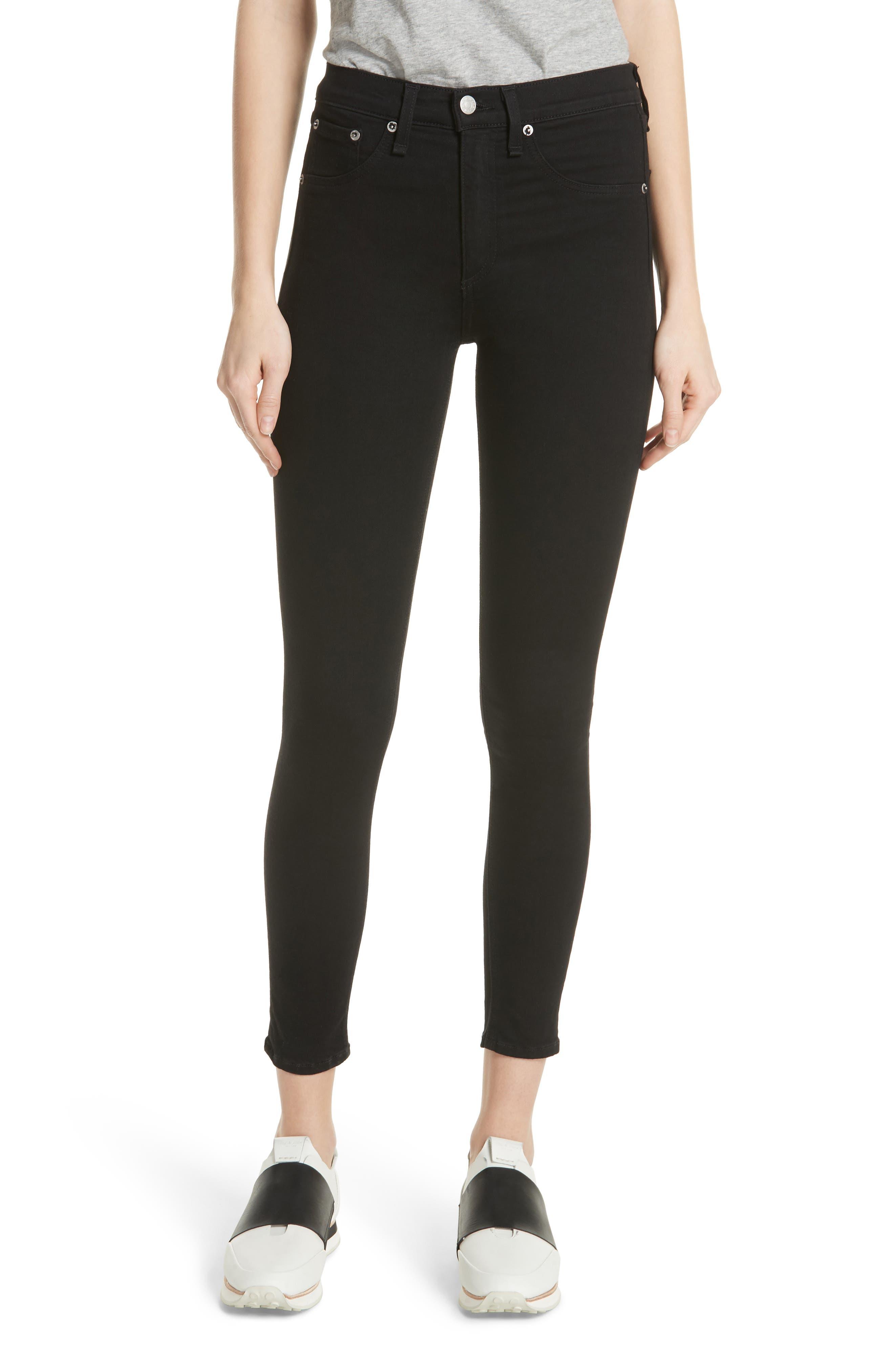 RAG & BONE, High Waist Ankle Skinny Jeans, Main thumbnail 1, color, BLACK