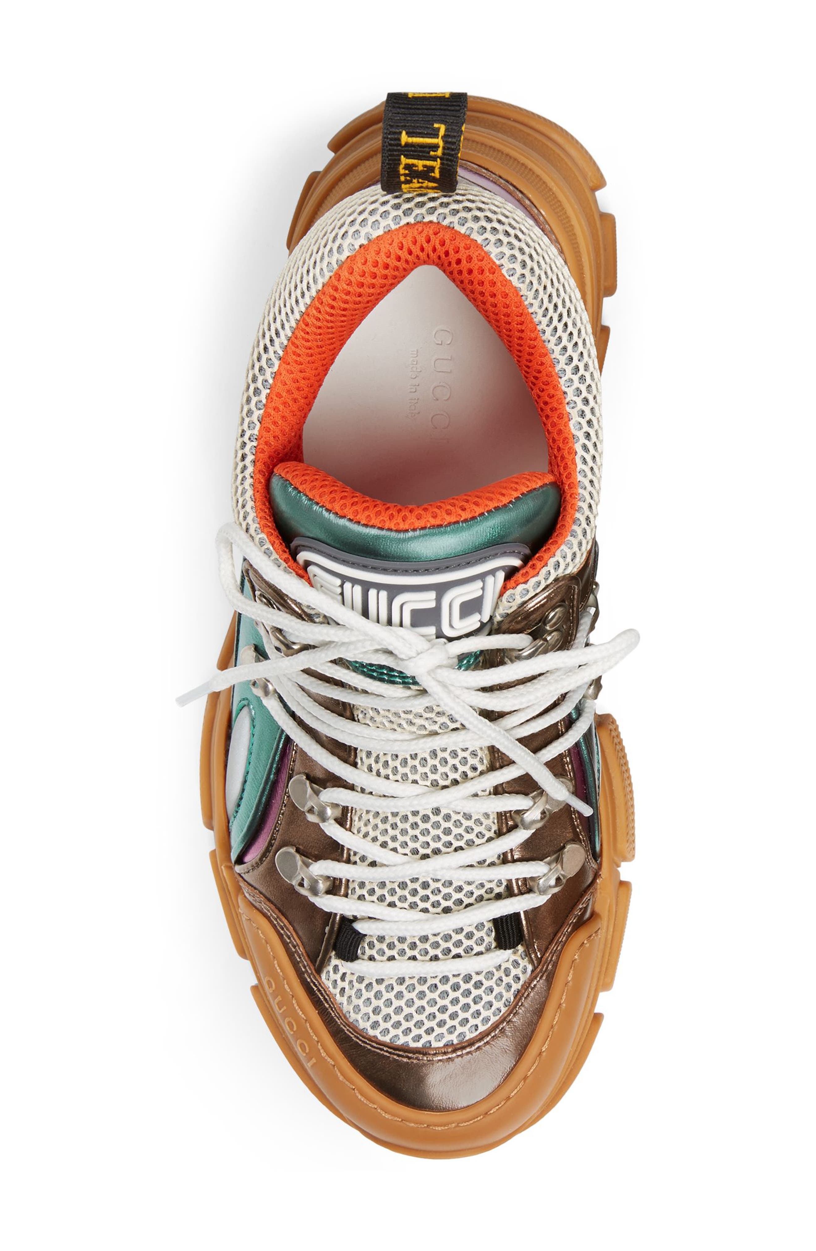 GUCCI, Flashtrek Lace-Up Sneaker, Alternate thumbnail 5, color, BROWN/ BLUE/ PINK