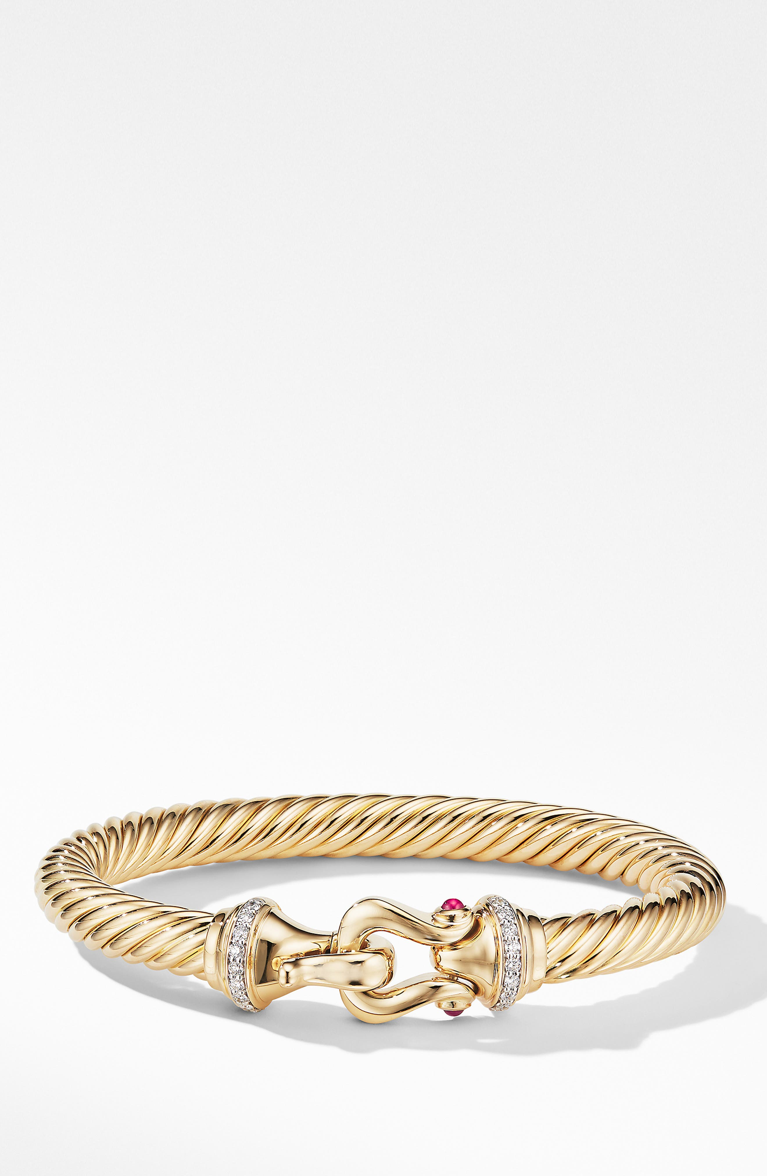 DAVID YURMAN, Cable Buckle Bracelet with Diamonds, Main thumbnail 1, color, GOLD/ RUBY/ DIAMOND