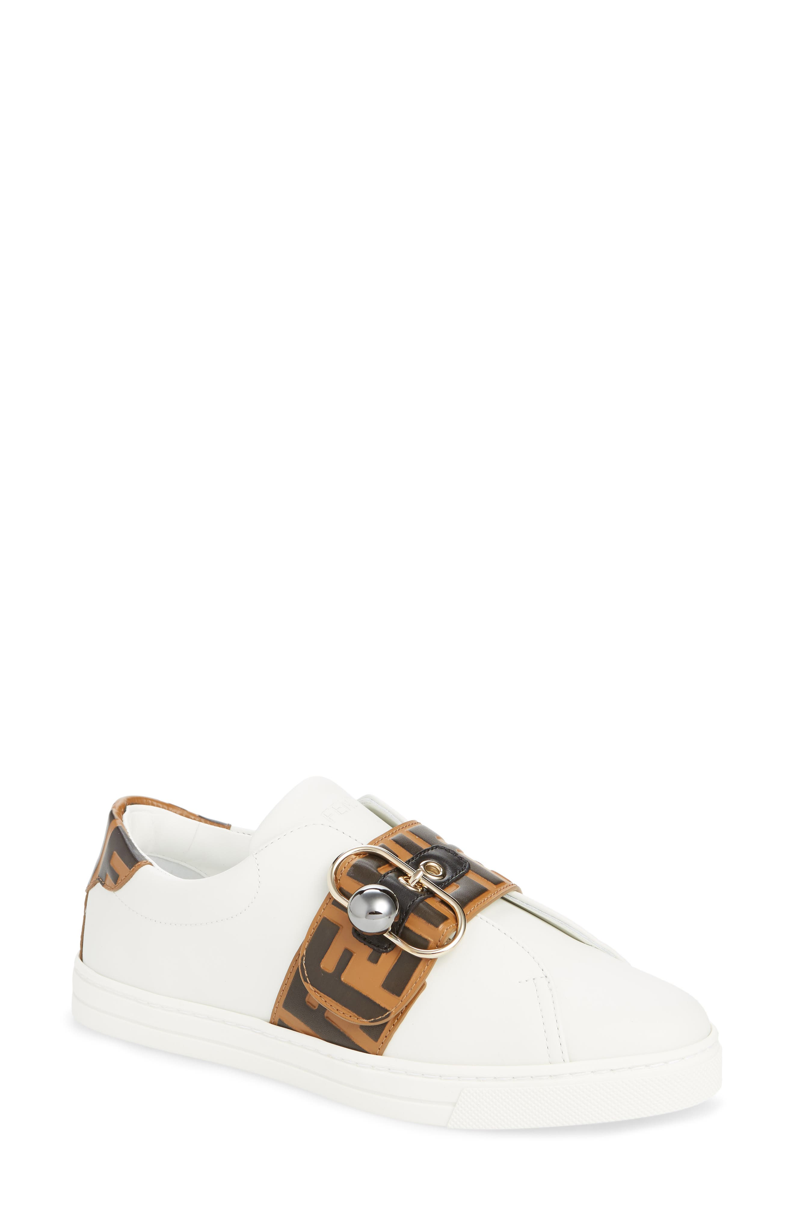 FENDI, Pearland Logo Slip-On Sneaker, Main thumbnail 1, color, WHITE/ BROWN