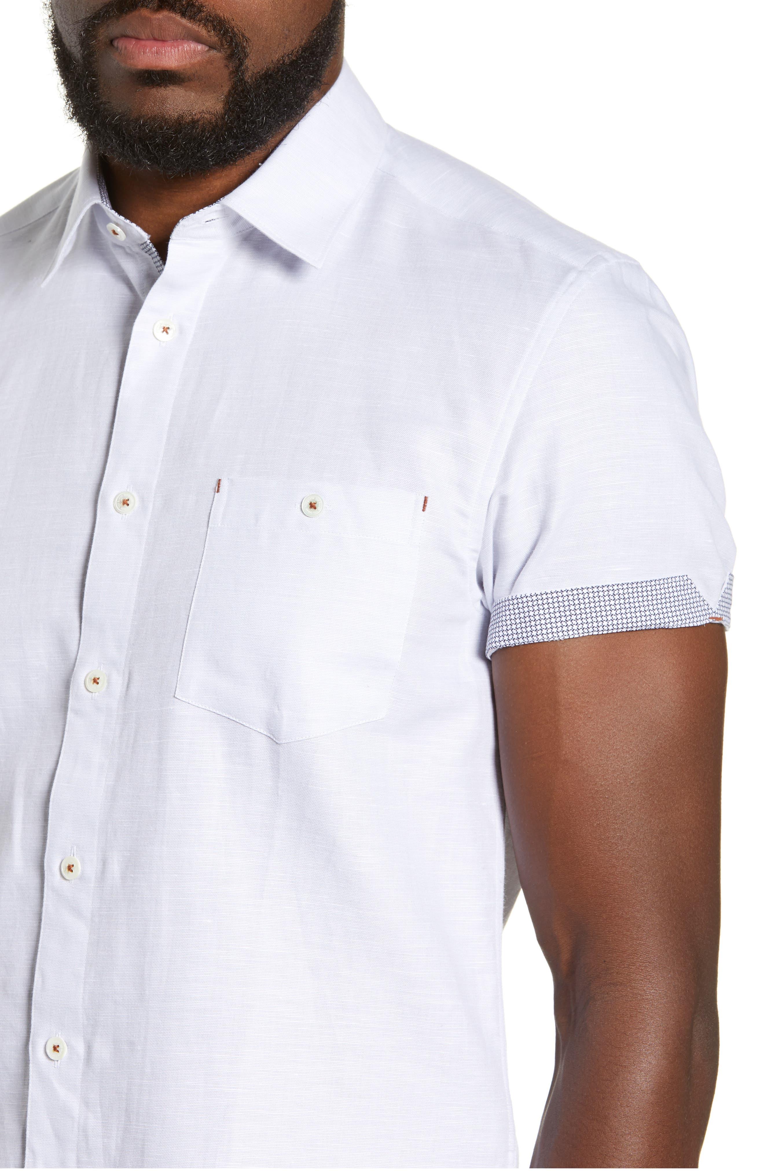 TED BAKER LONDON, Graphit Slim Fit Cotton & Linen Sport Shirt, Alternate thumbnail 2, color, GREY