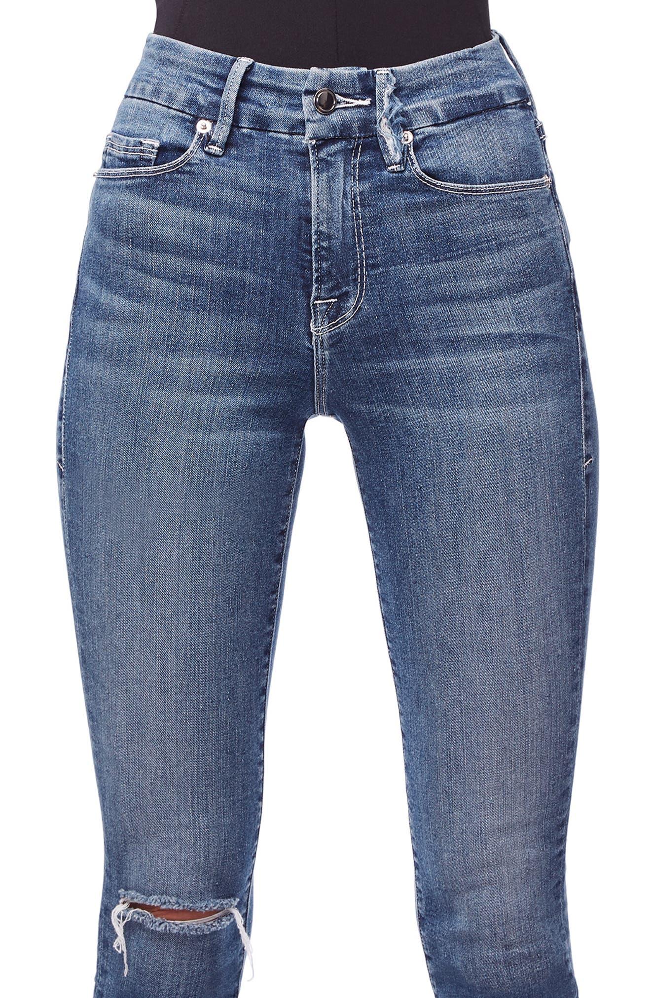 GOOD AMERICAN, Good Legs High Waist Skinny Jeans, Alternate thumbnail 6, color, BLUE186