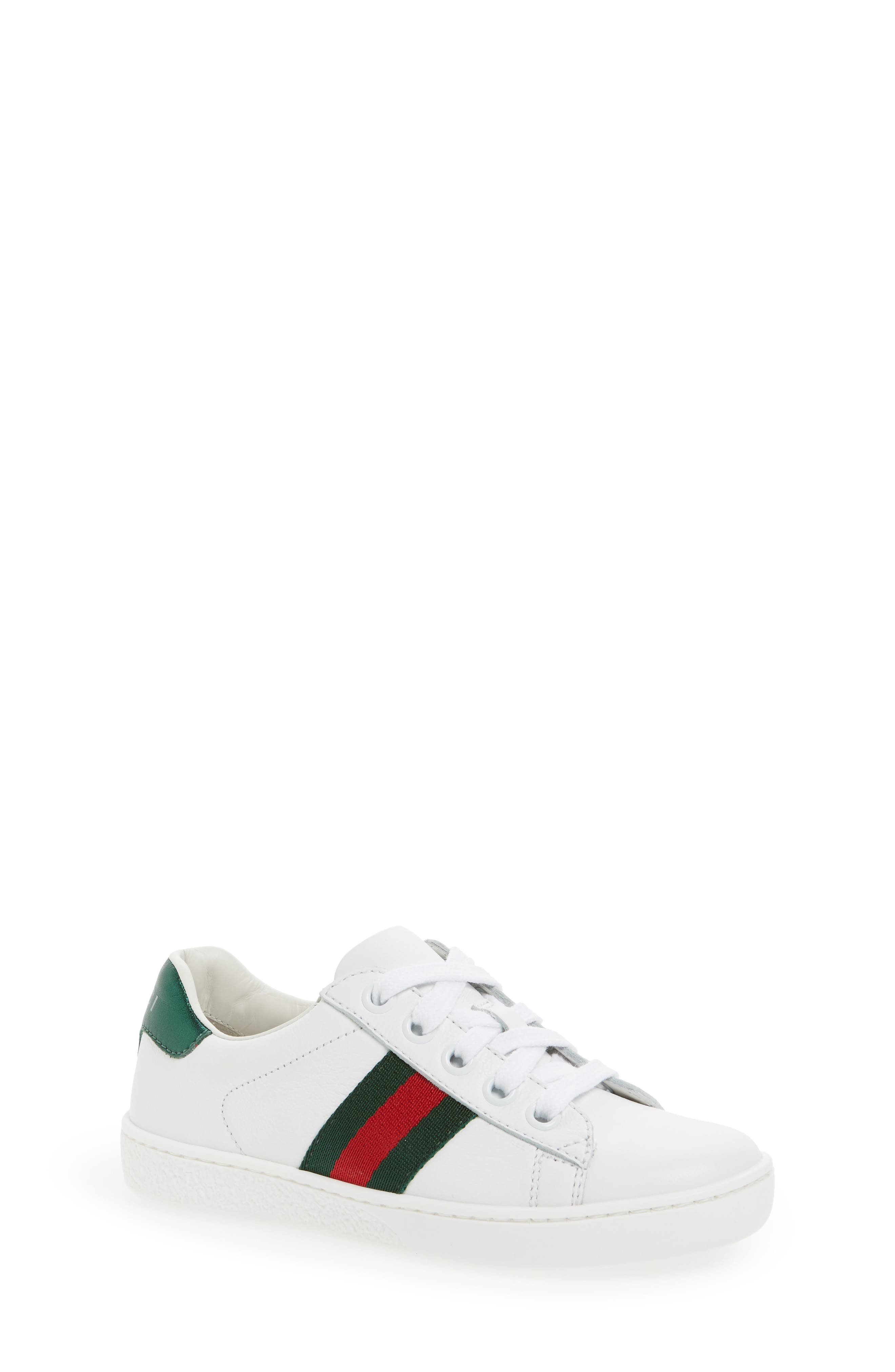 GUCCI, 'Ace' Sneaker, Alternate thumbnail 6, color, WHITE/ GREEN