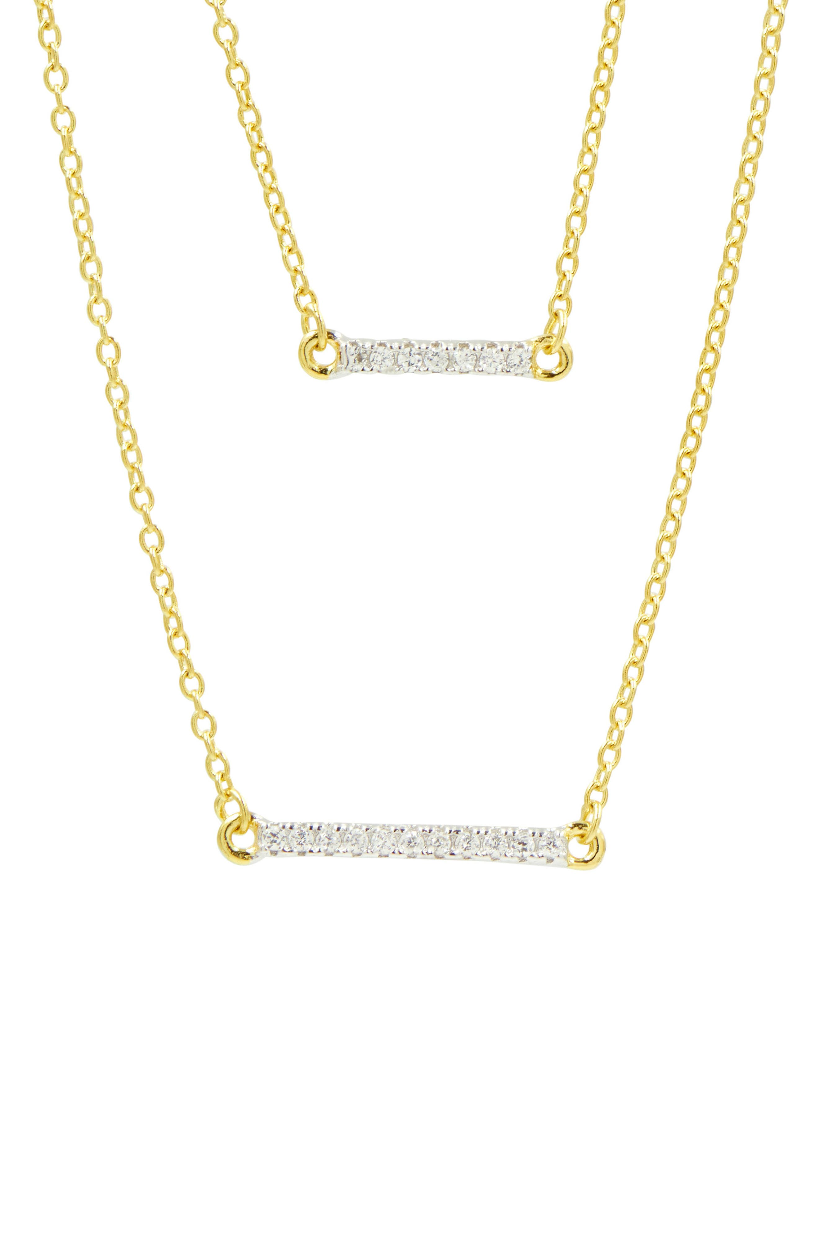 FREIDA ROTHMAN, Radiance Double Pendant Necklace, Alternate thumbnail 2, color, GOLD/ SILVER