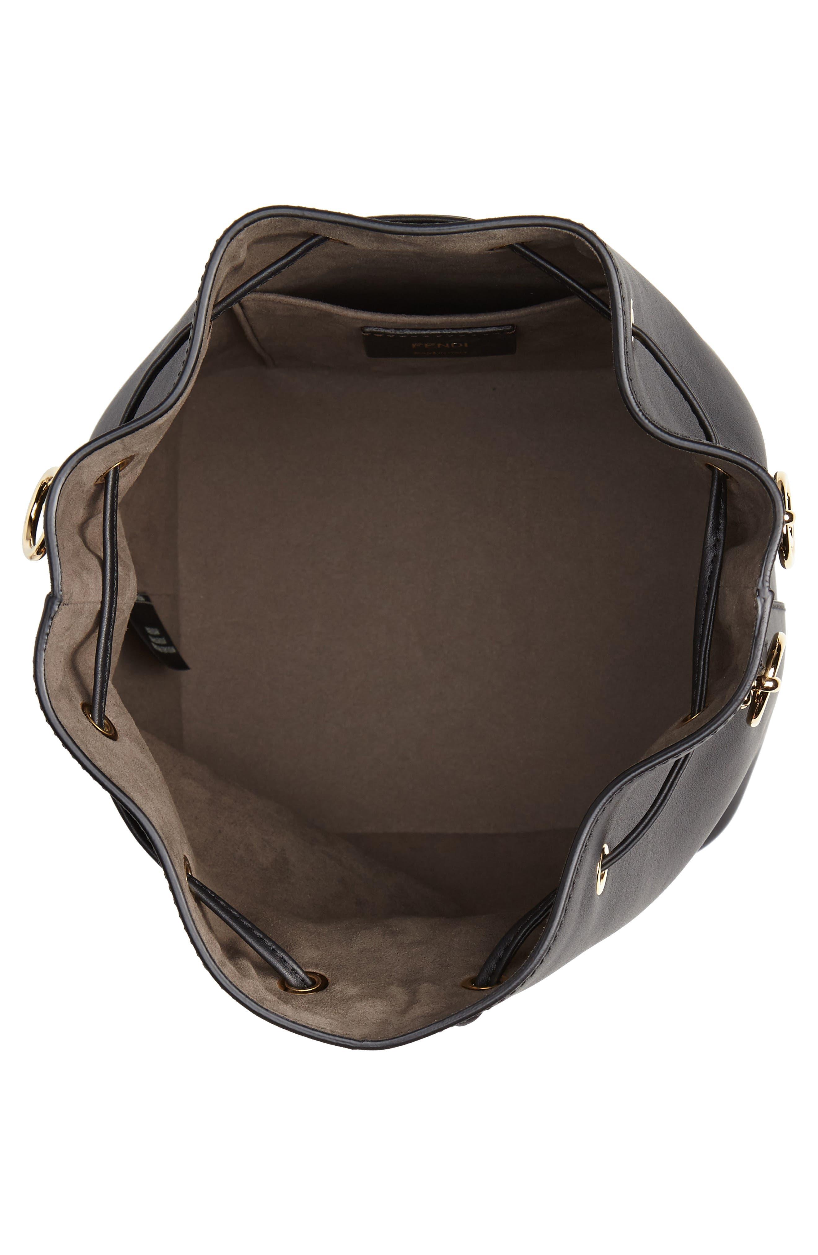 FENDI, Mon Tresor Logo Bucket Bag, Alternate thumbnail 4, color, 006