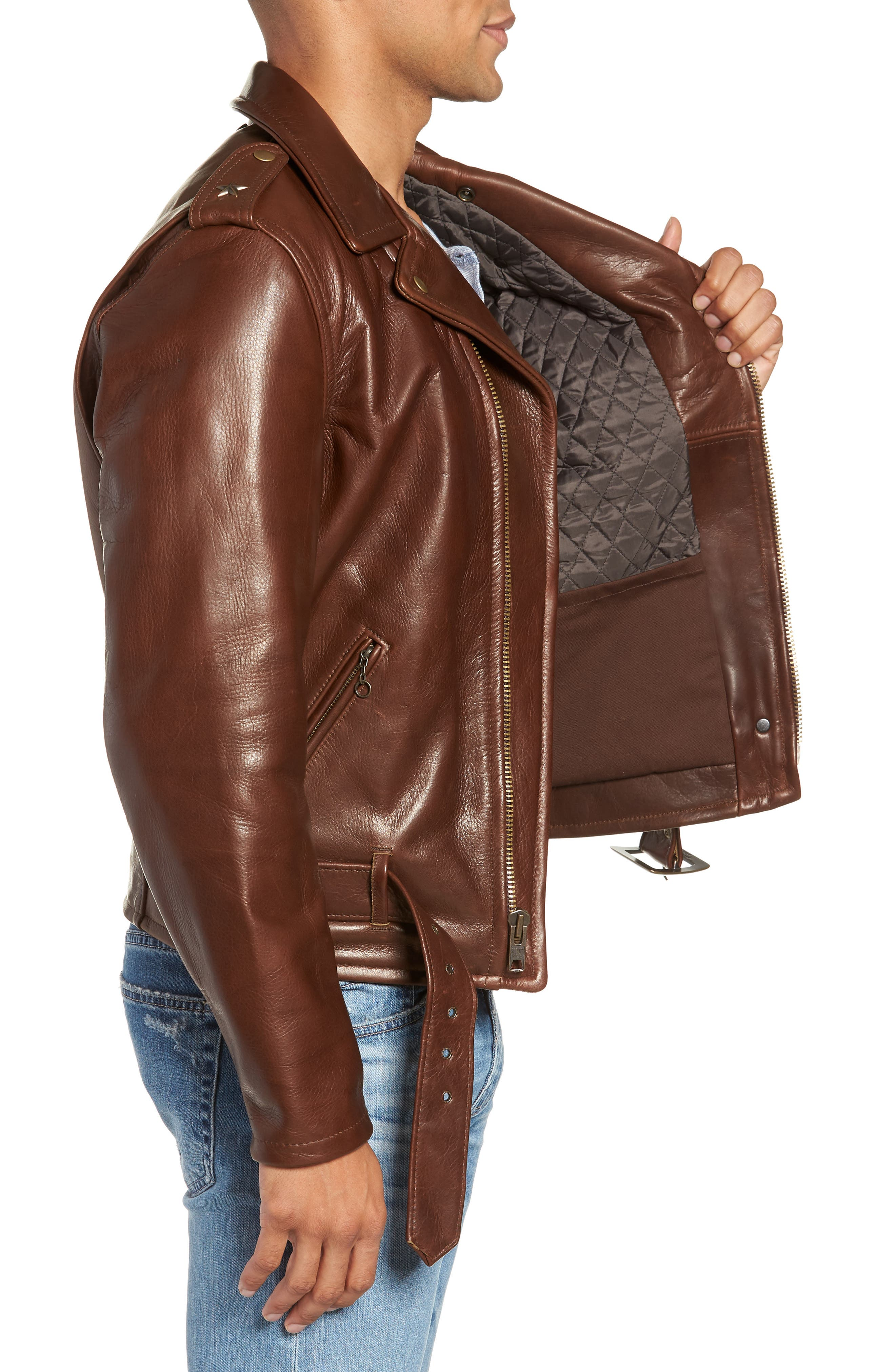 SCHOTT NYC, '50s Oil Tanned Cowhide Leather Moto Jacket, Alternate thumbnail 3, color, BROWN