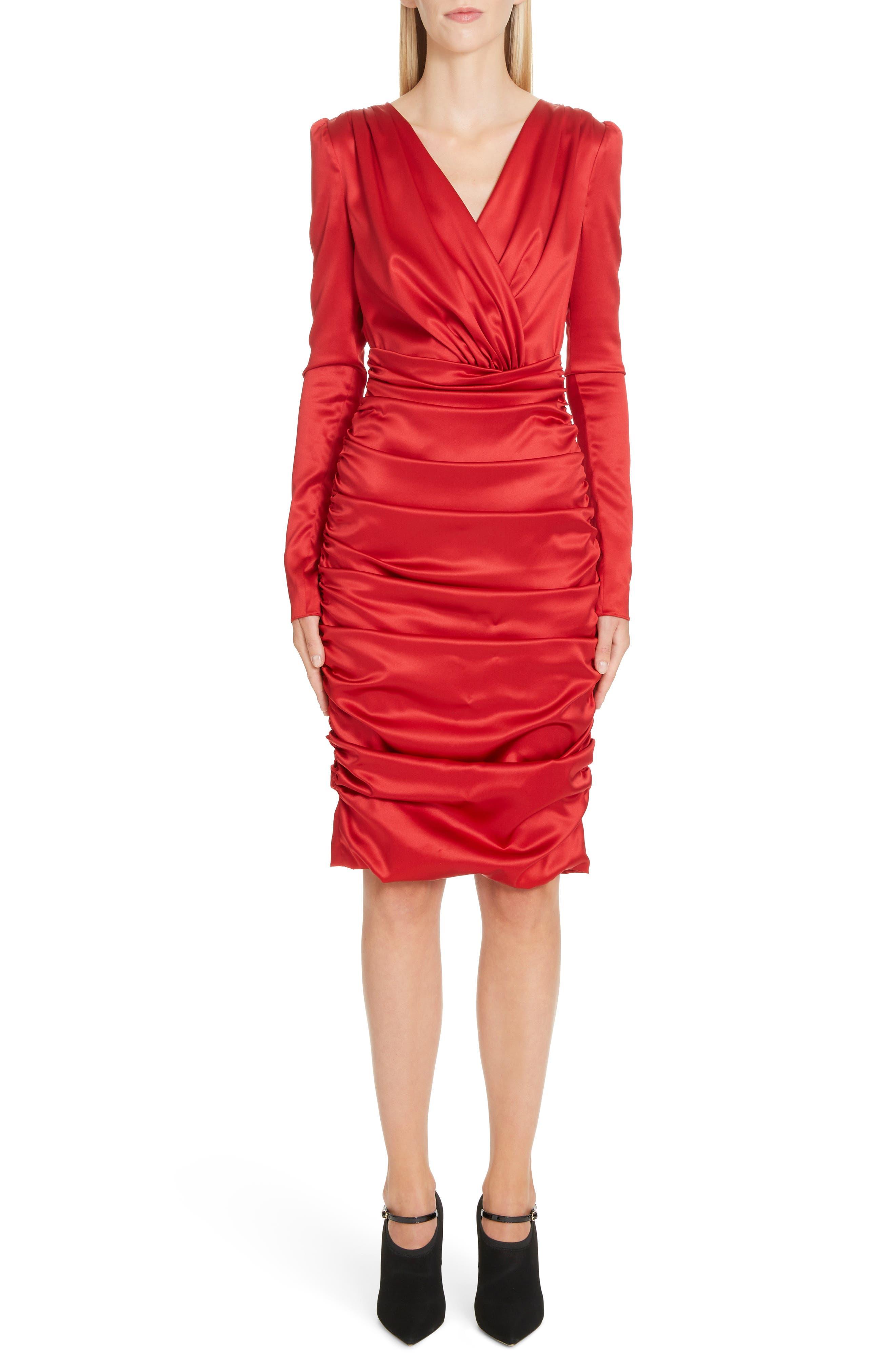 Dolce & gabbana Stretch Silk Satin Sheath Dress, US / 48 IT - Red