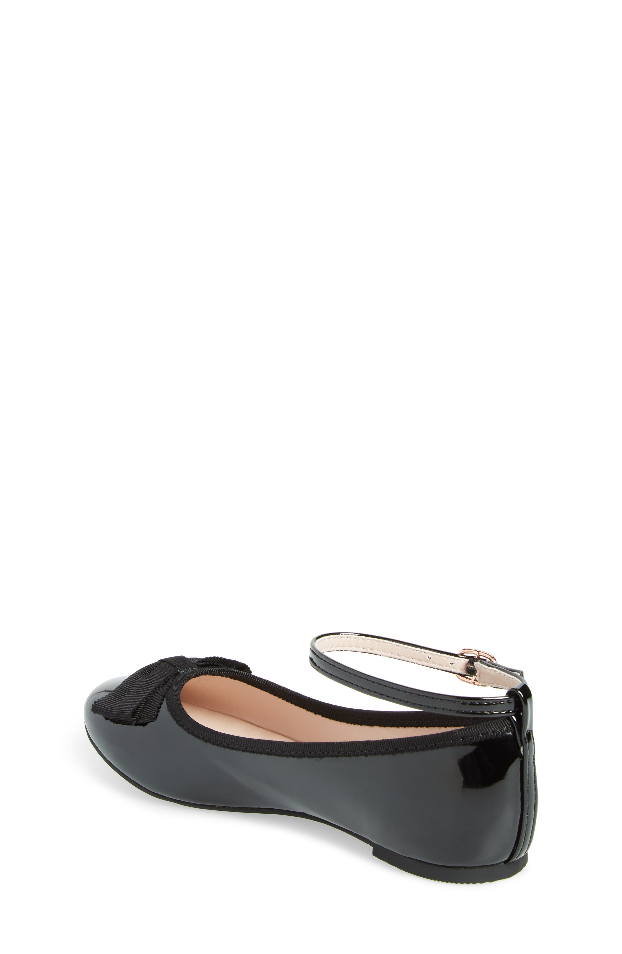 RUBY & BLOOM, Pipa Ankle Strap Ballet Flat, Alternate thumbnail 2, color, BLACK FAUX PATENT