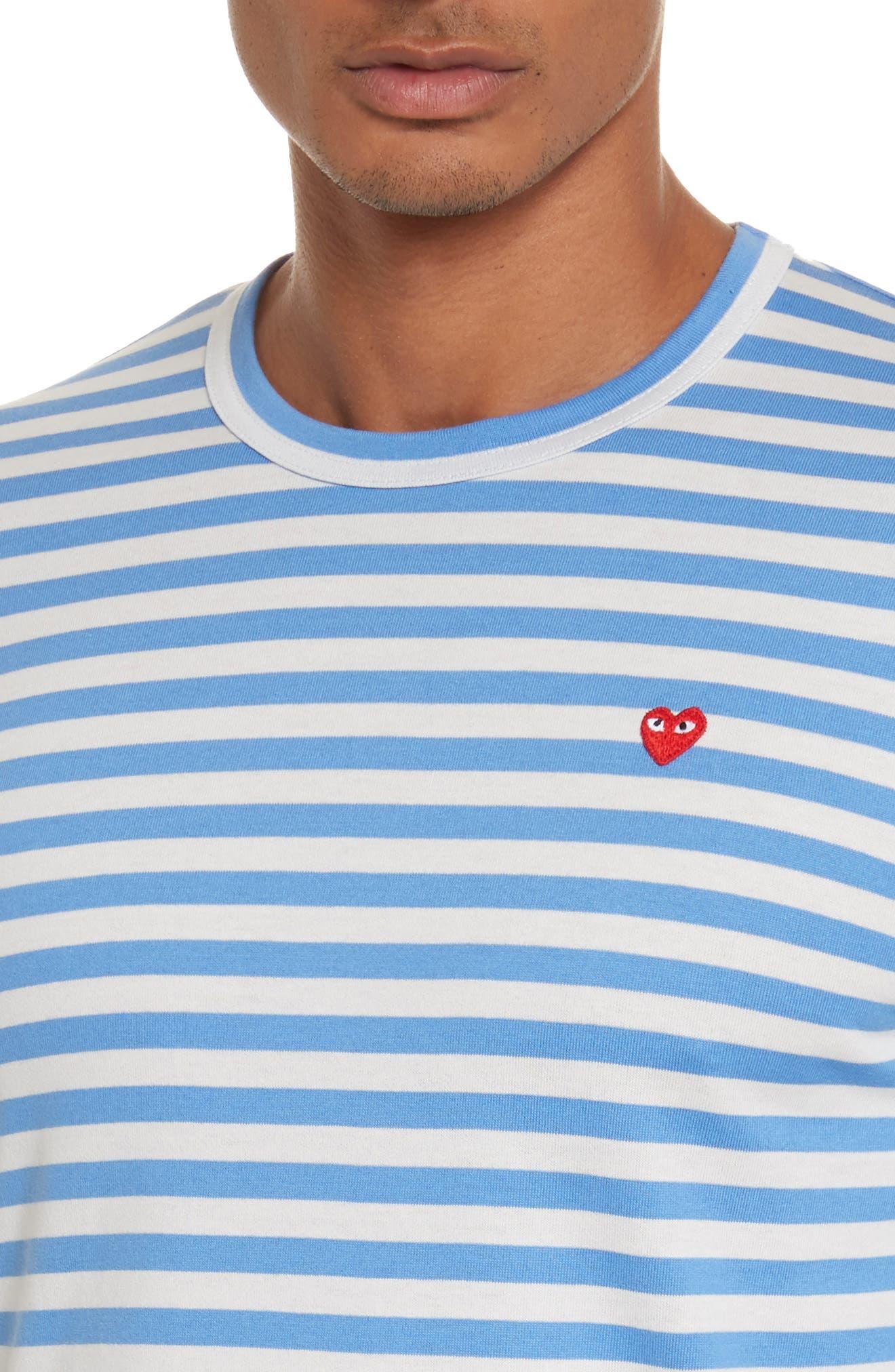 COMME DES GARÇONS PLAY, Long Sleeve Stripe Crewneck T-Shirt, Alternate thumbnail 4, color, 400