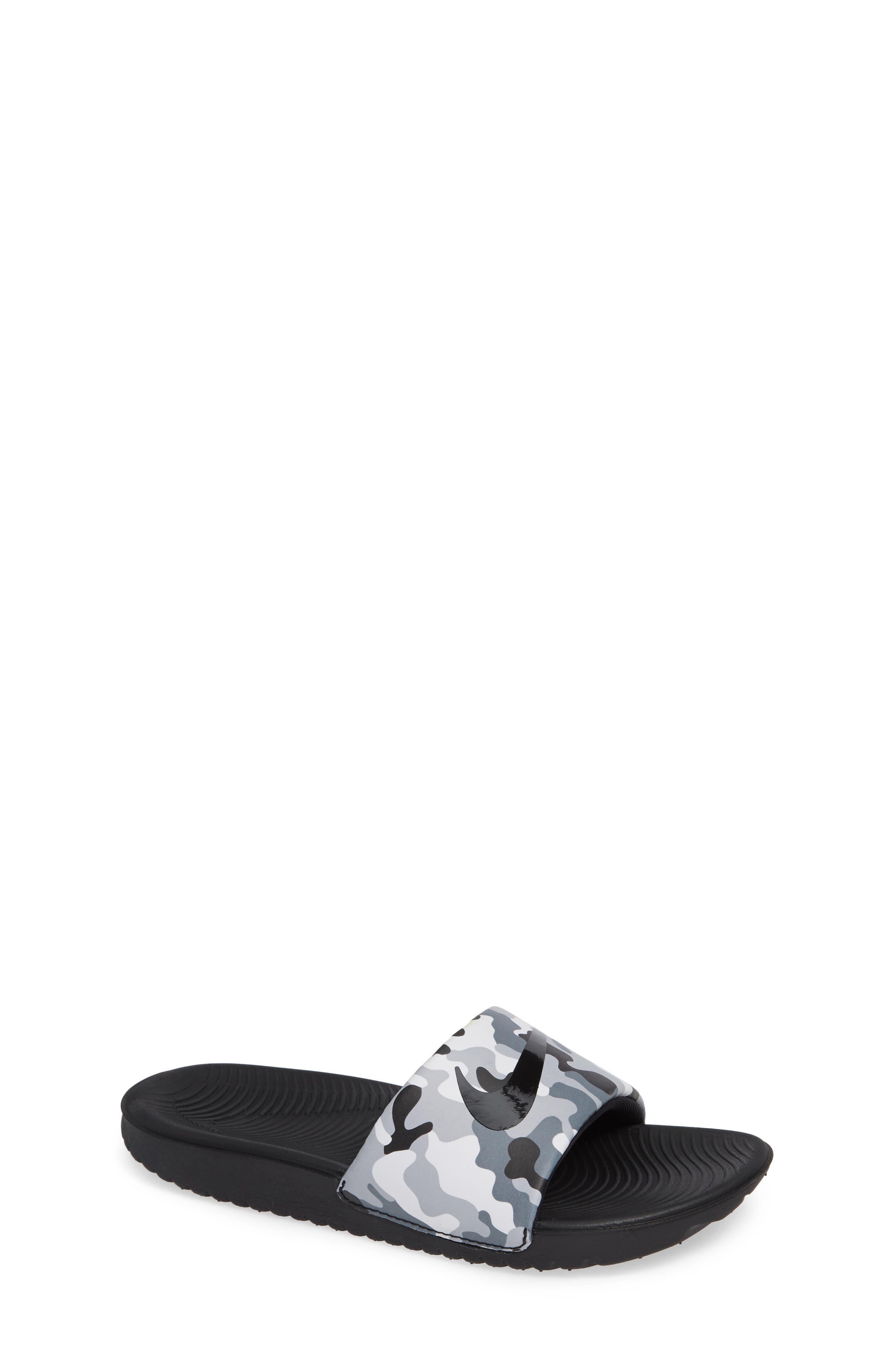 NIKE, Kawa Slide Sandal, Main thumbnail 1, color, WOLF GREY/ BLACK/ WHITE