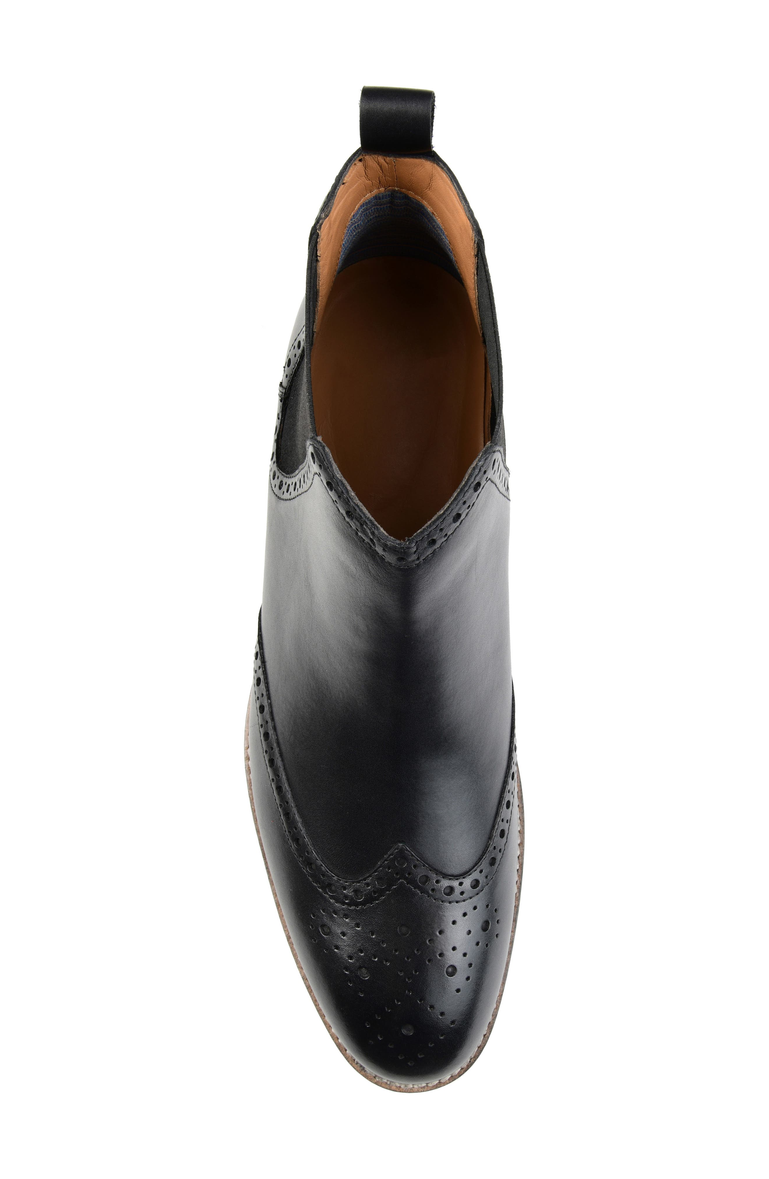 THOMAS AND VINE, Thorne Wingtip Chelsea Boot, Alternate thumbnail 5, color, BLACK LEATHER