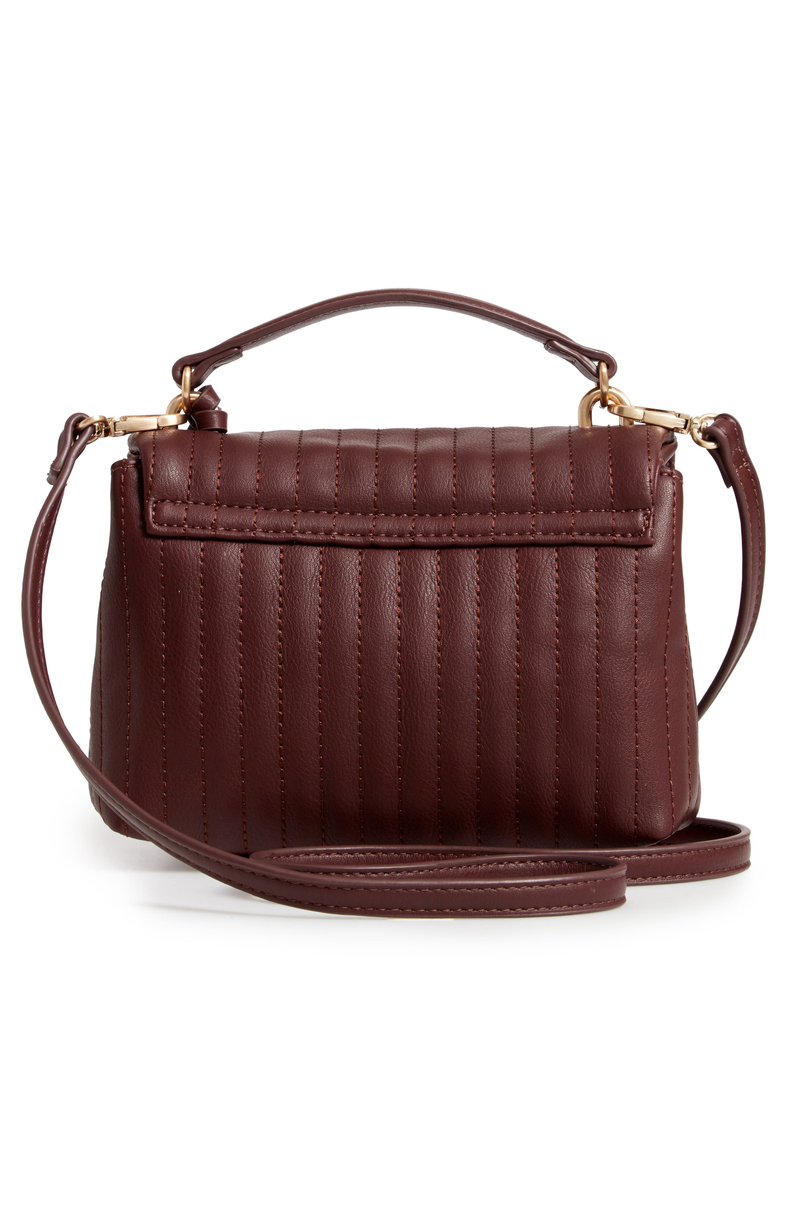 SOLE SOCIETY, Urche Faux Leather Crossbody Bag, Alternate thumbnail 4, color, OXBLOOD