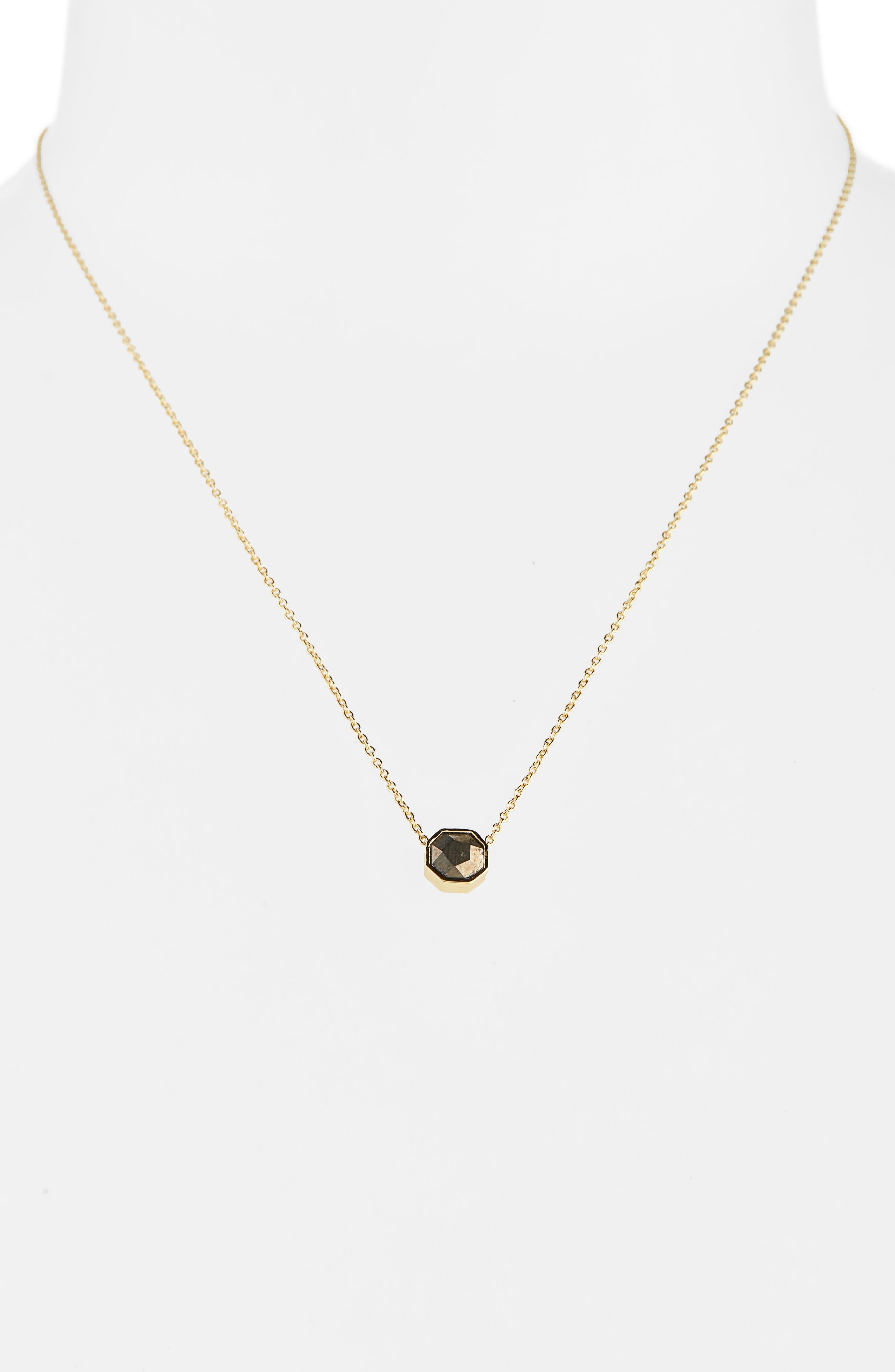 GORJANA Power Gemstone Charm Adjustable Necklace, Main, color, STRENGTH/ PYRITE/ GOLD