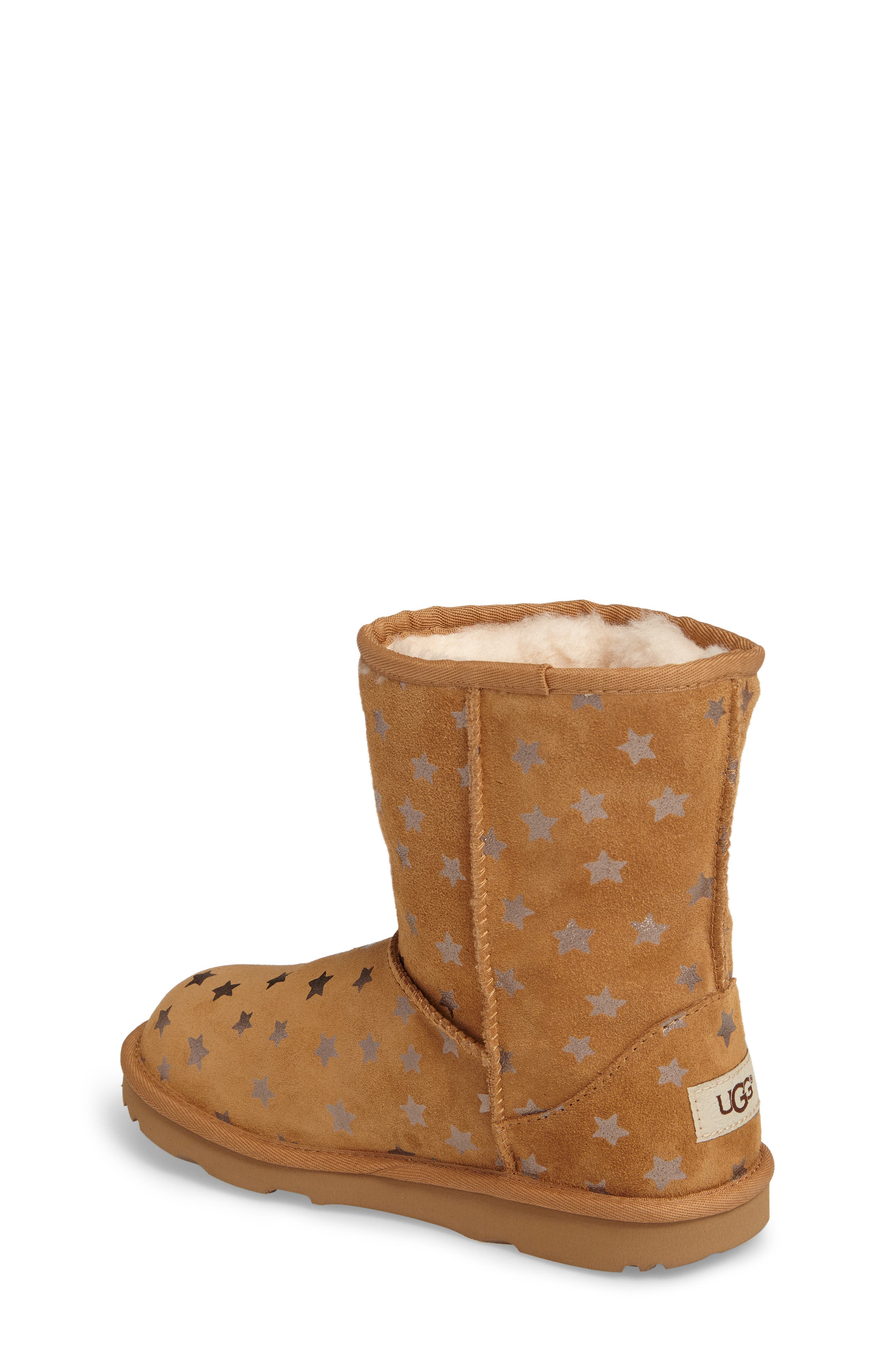 UGG<SUP>®</SUP>, Classic Short II Water Resistant Stars Boot, Alternate thumbnail 2, color, CHESTNUT
