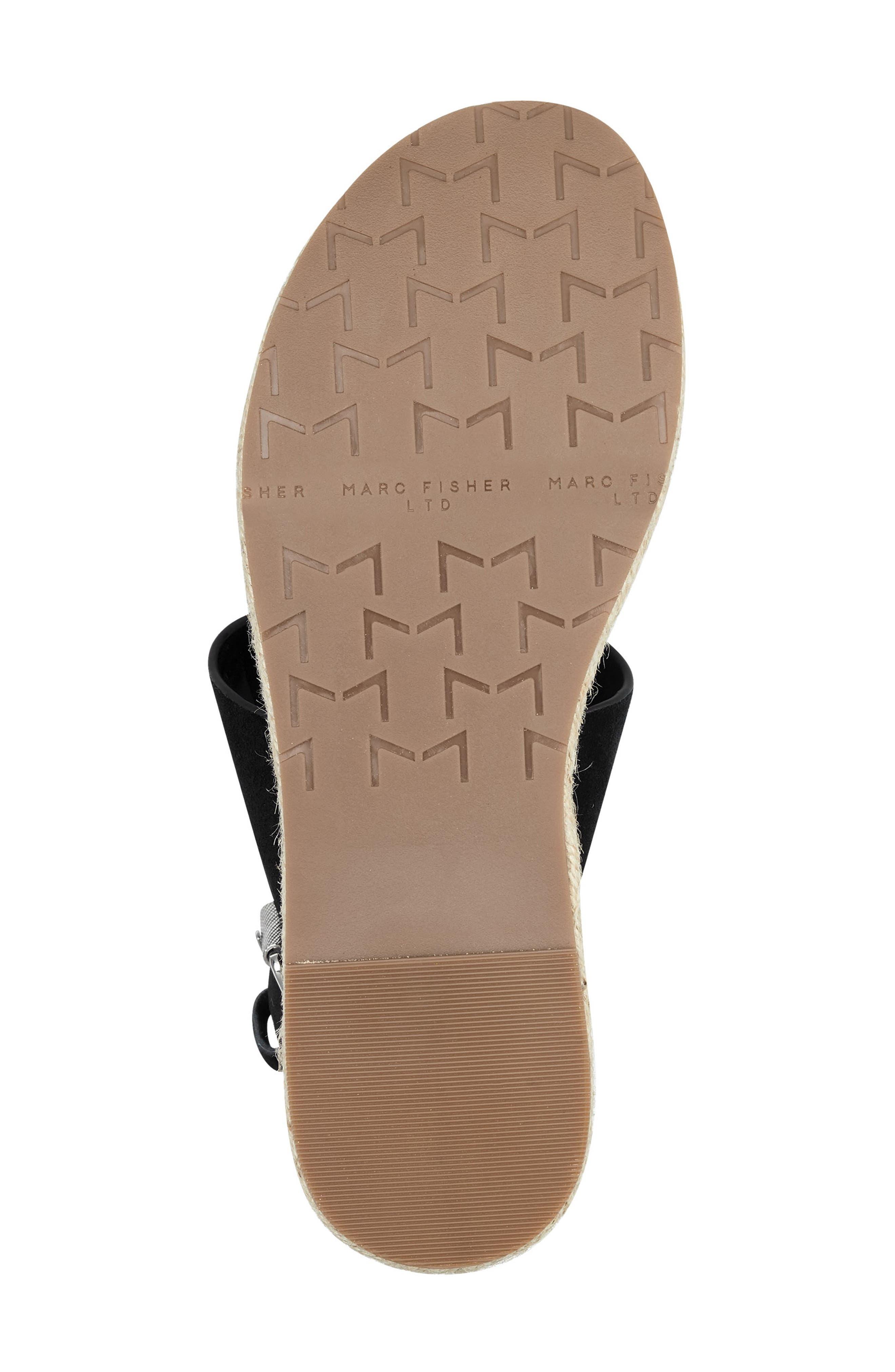 MARC FISHER LTD, Oria Espadrille Platform Sandal, Alternate thumbnail 6, color, BLACK SUEDE