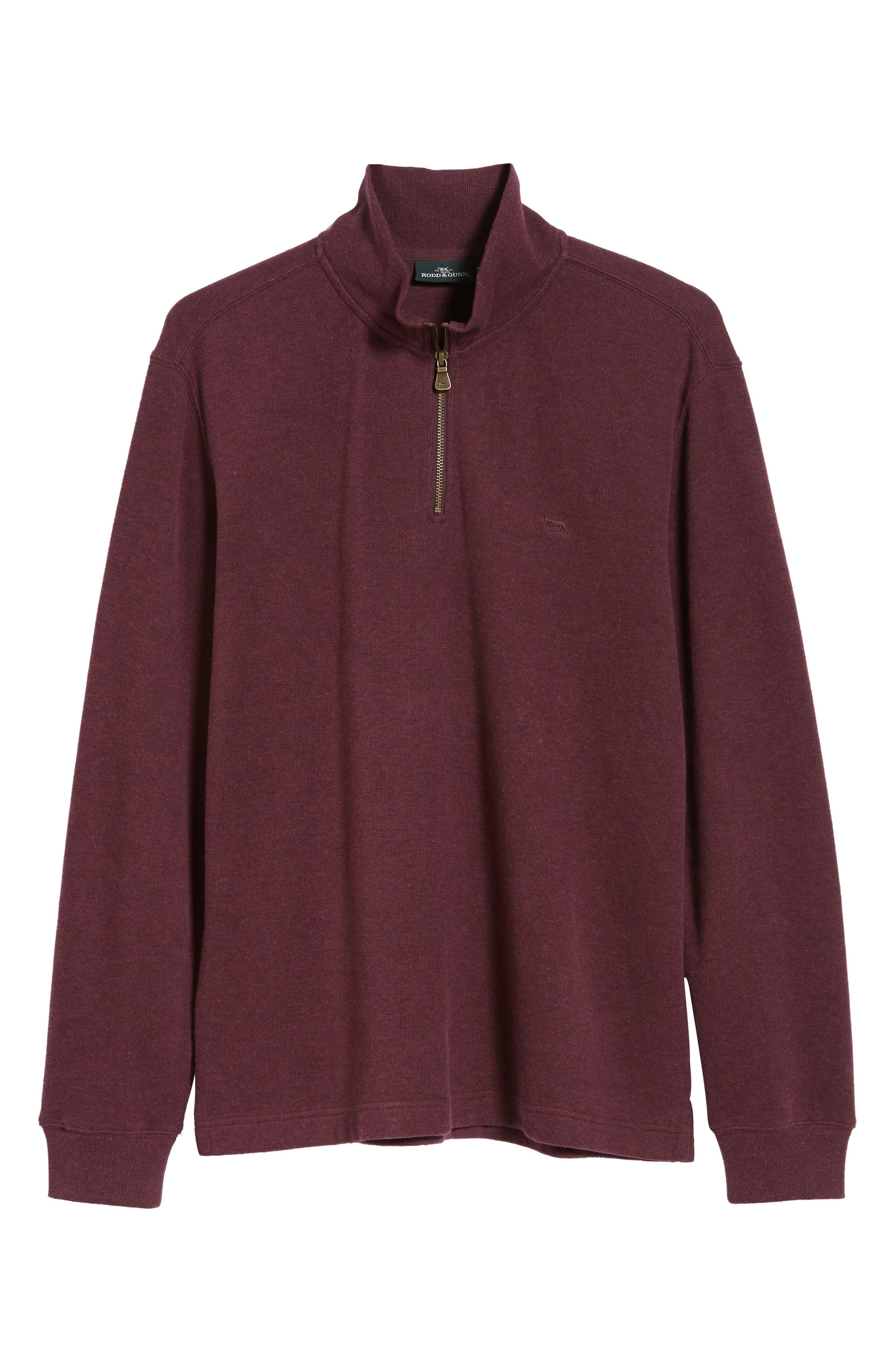 RODD & GUNN, Alton Ave Regular Fit Pullover Sweatshirt, Alternate thumbnail 6, color, BURGUNDY