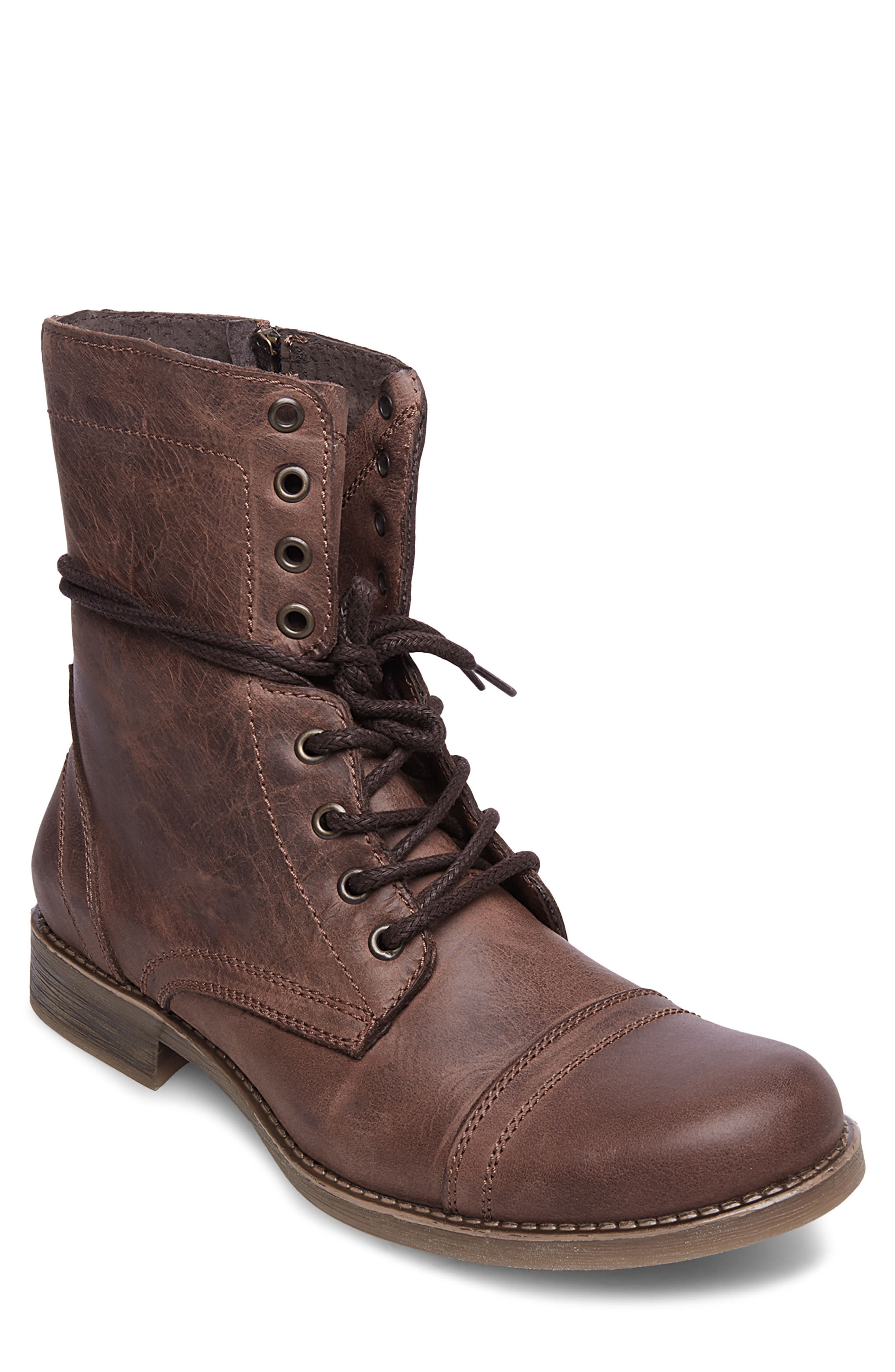 STEVE MADDEN, Troopah-C Cap Toe Boot, Main thumbnail 1, color, BROWN LEATHER