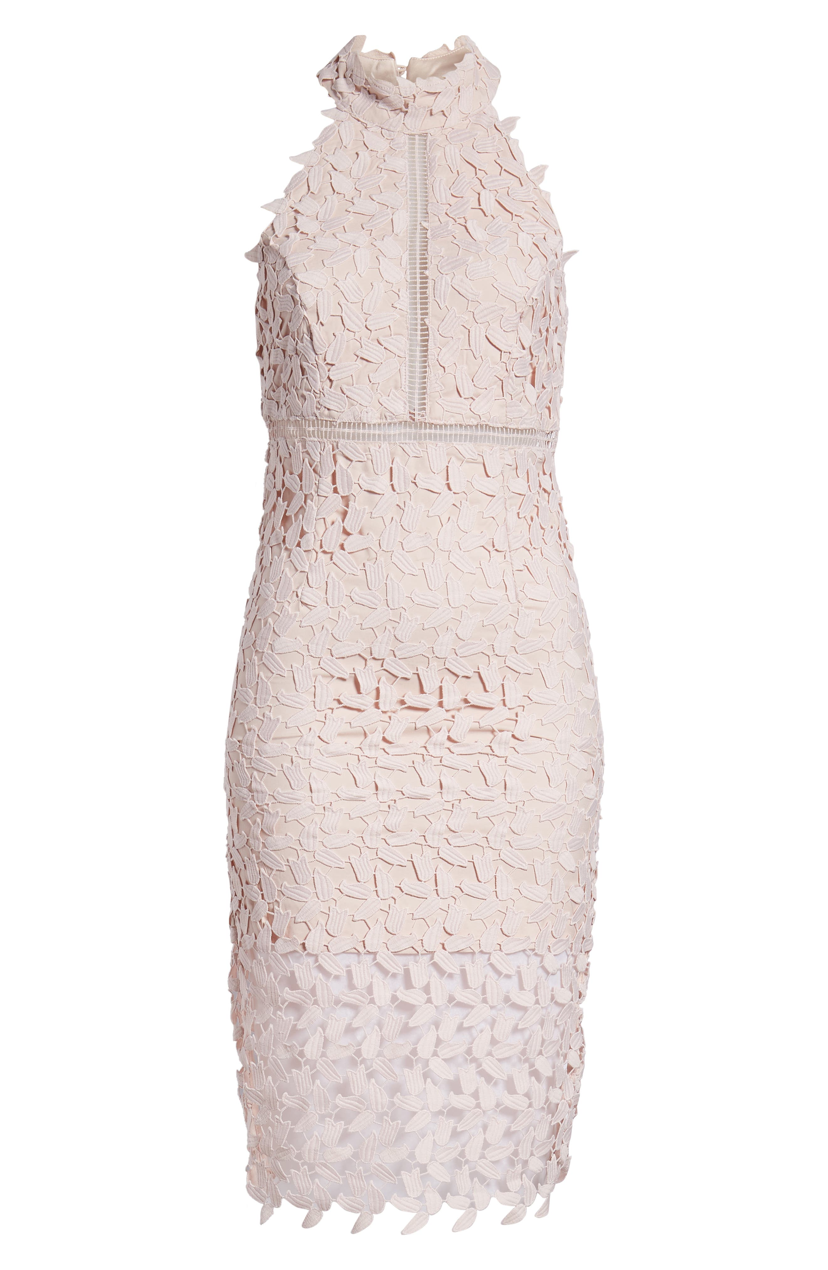 BARDOT, Gemma Halter Lace Sheath Dress, Alternate thumbnail 7, color, PROSECCO