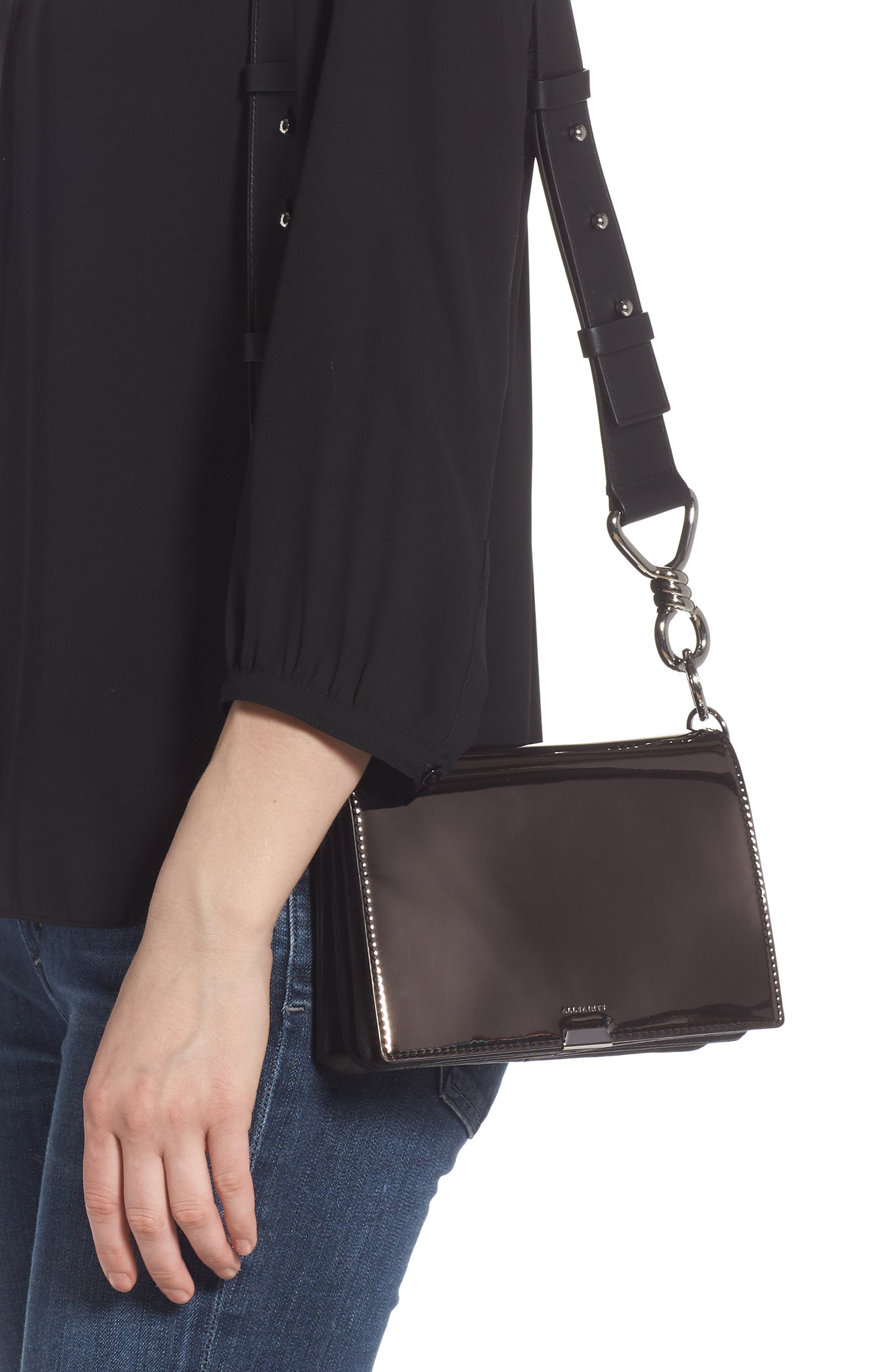 ALLSAINTS, Captain Mirror Flap Leather Shoulder Bag, Alternate thumbnail 2, color, GUNMETAL