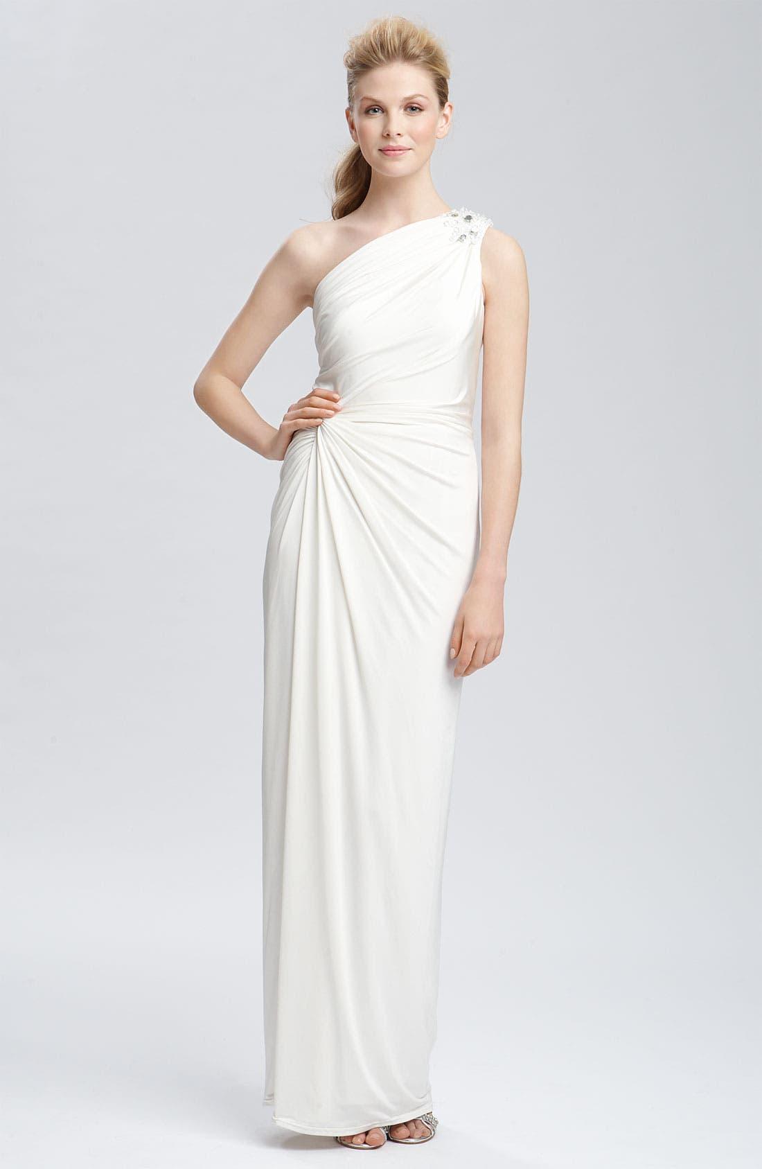 TADASHI SHOJI Beaded Jersey One Shoulder Gown, Main, color, 900