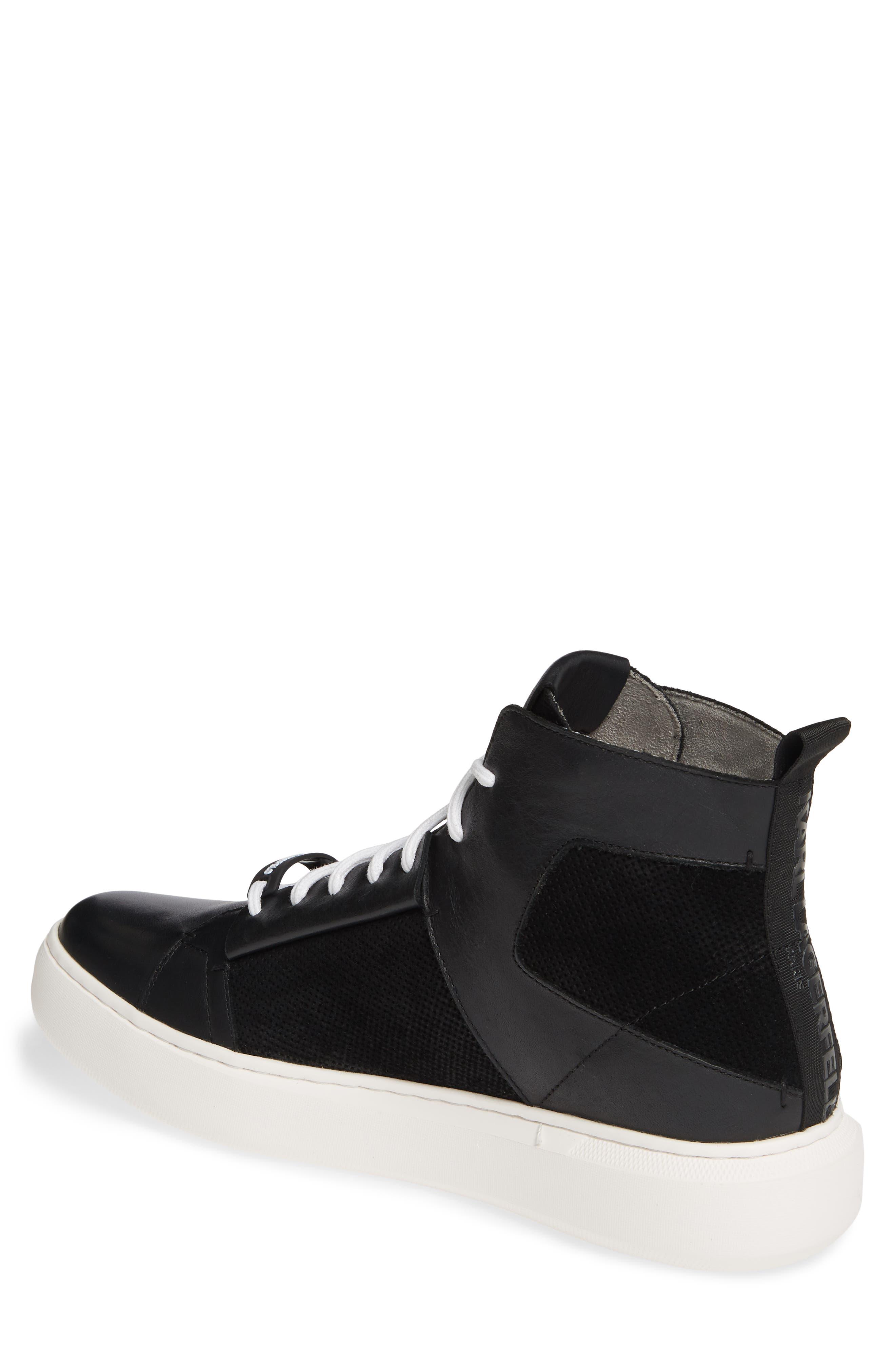 KARL LAGERFELD PARIS, High Top Sneaker, Alternate thumbnail 2, color, BLACK LEATHER