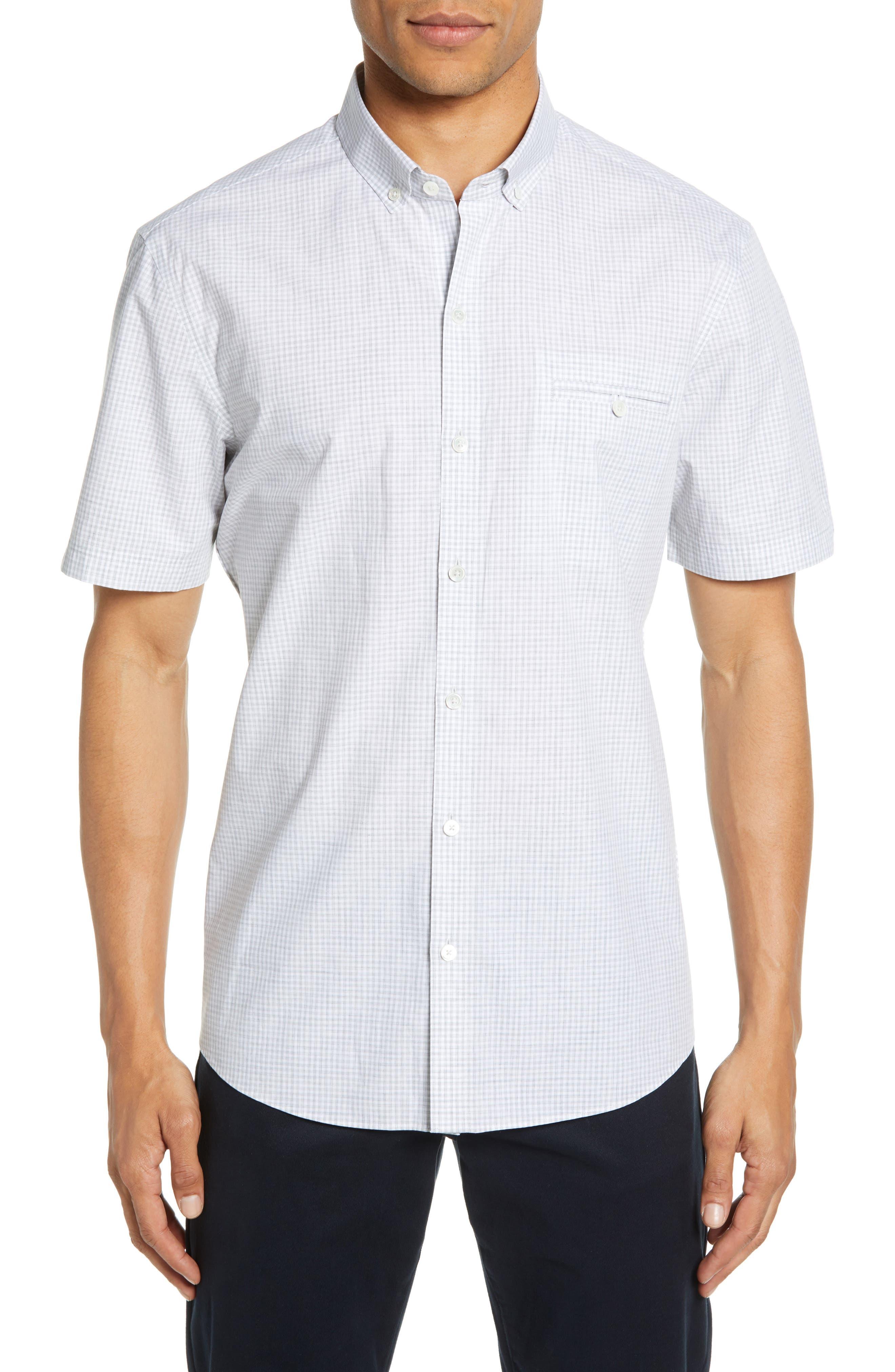ZACHARY PRELL, Cechini Regular Fit Short Sleeve Sport Shirt, Main thumbnail 1, color, LT GREY