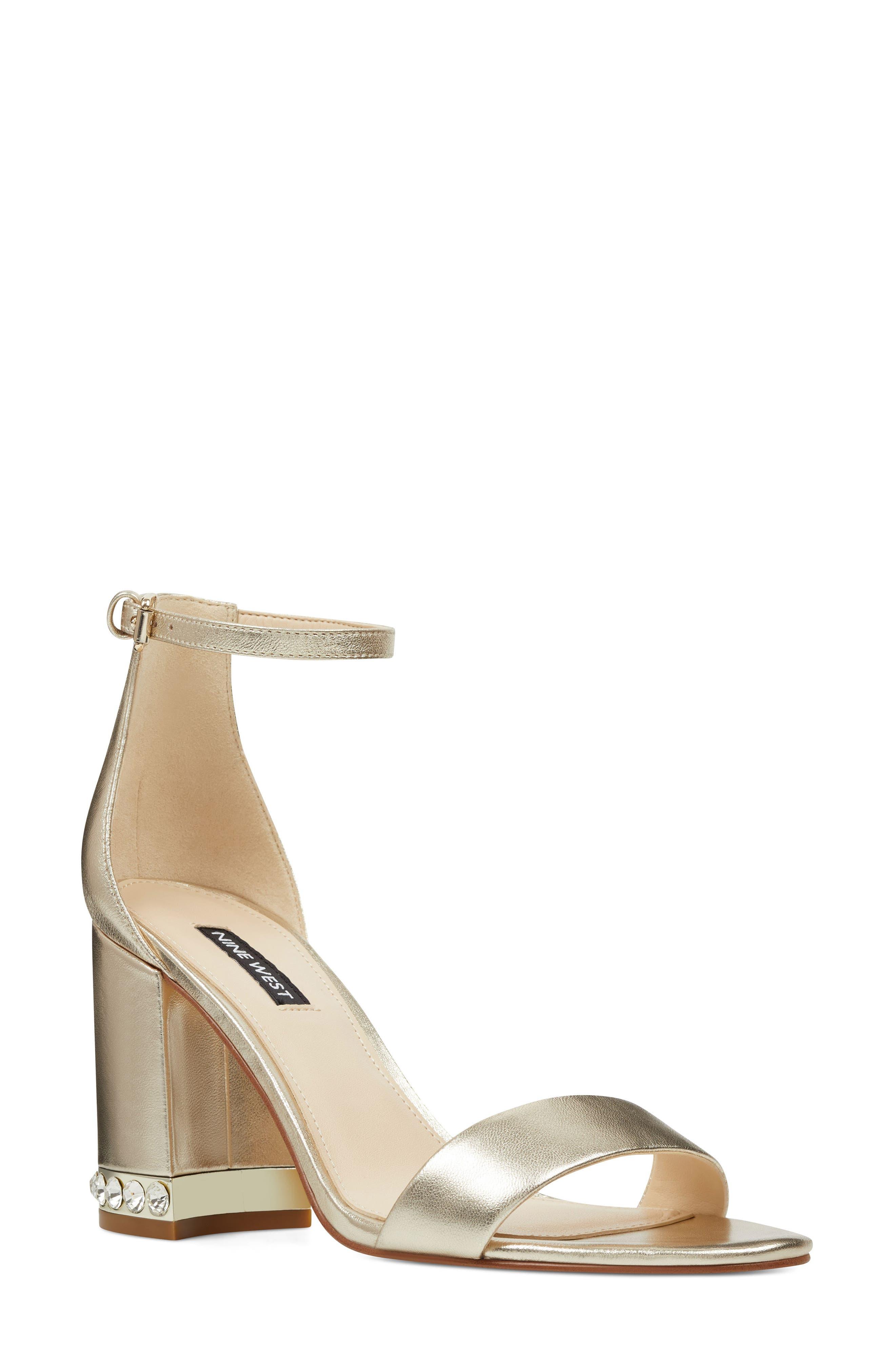 88ab1e0c674 Nine West Abigail Crystal Embellished Ankle Strap Sandal
