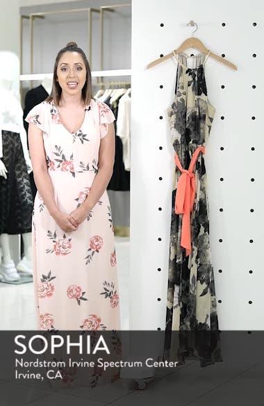 Floral Print Halter Chiffon Maxi Dress, sales video thumbnail
