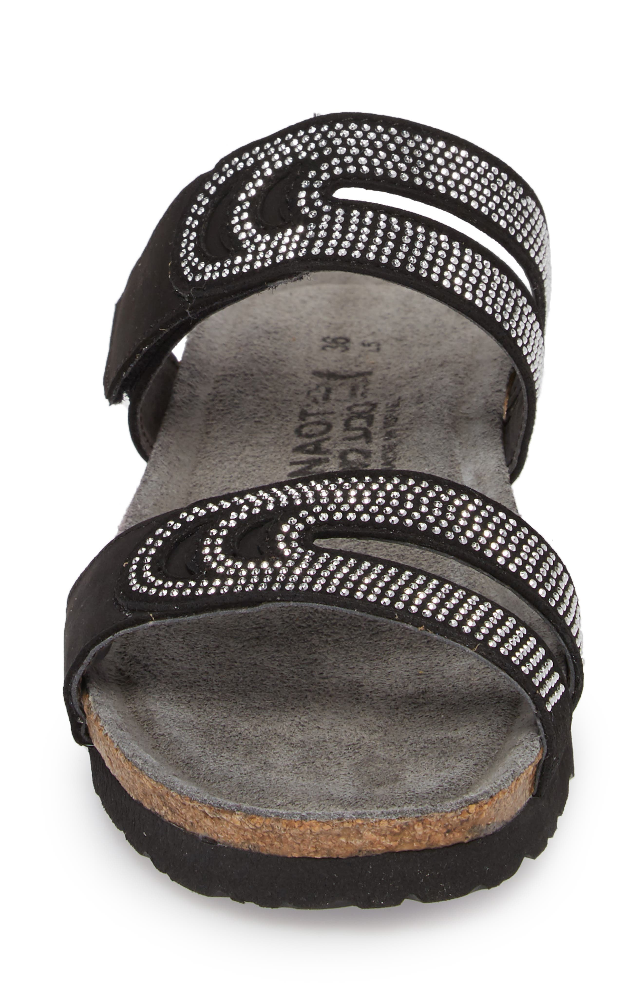 NAOT, Ainsley Studded Slide Sandal, Alternate thumbnail 4, color, BLACK NUBUCK