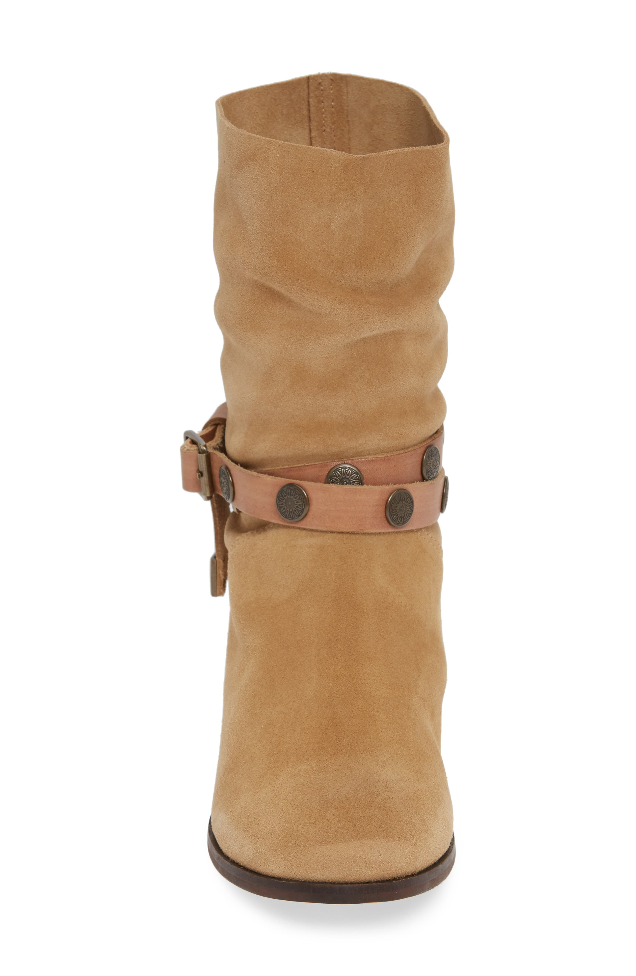 FREE PEOPLE, Hayden Buckle Strap Boot, Alternate thumbnail 4, color, SAND SUEDE