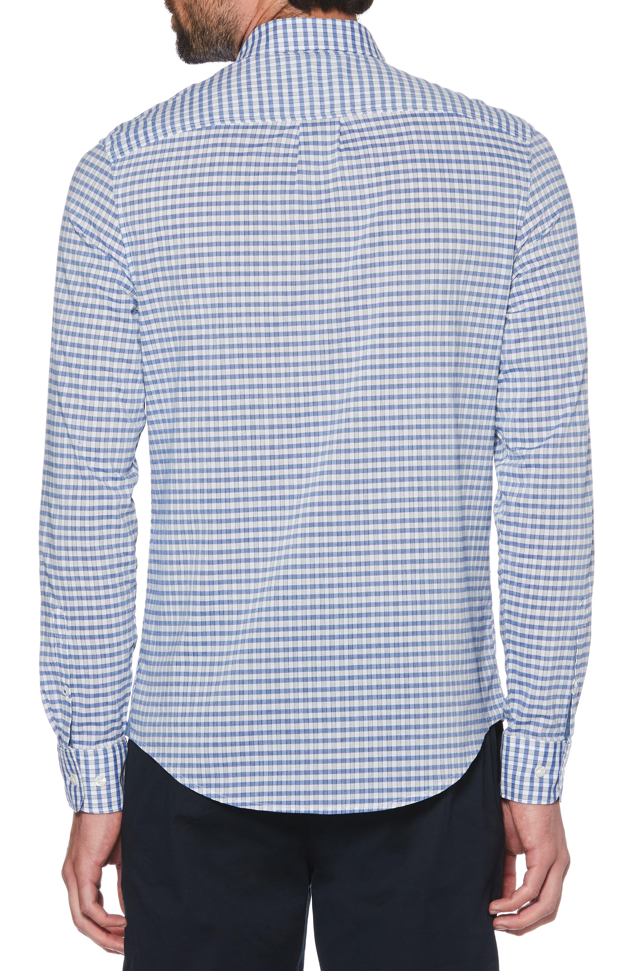 ORIGINAL PENGUIN, Heathered Gingham Sport Shirt, Alternate thumbnail 3, color, SURF THE WEB