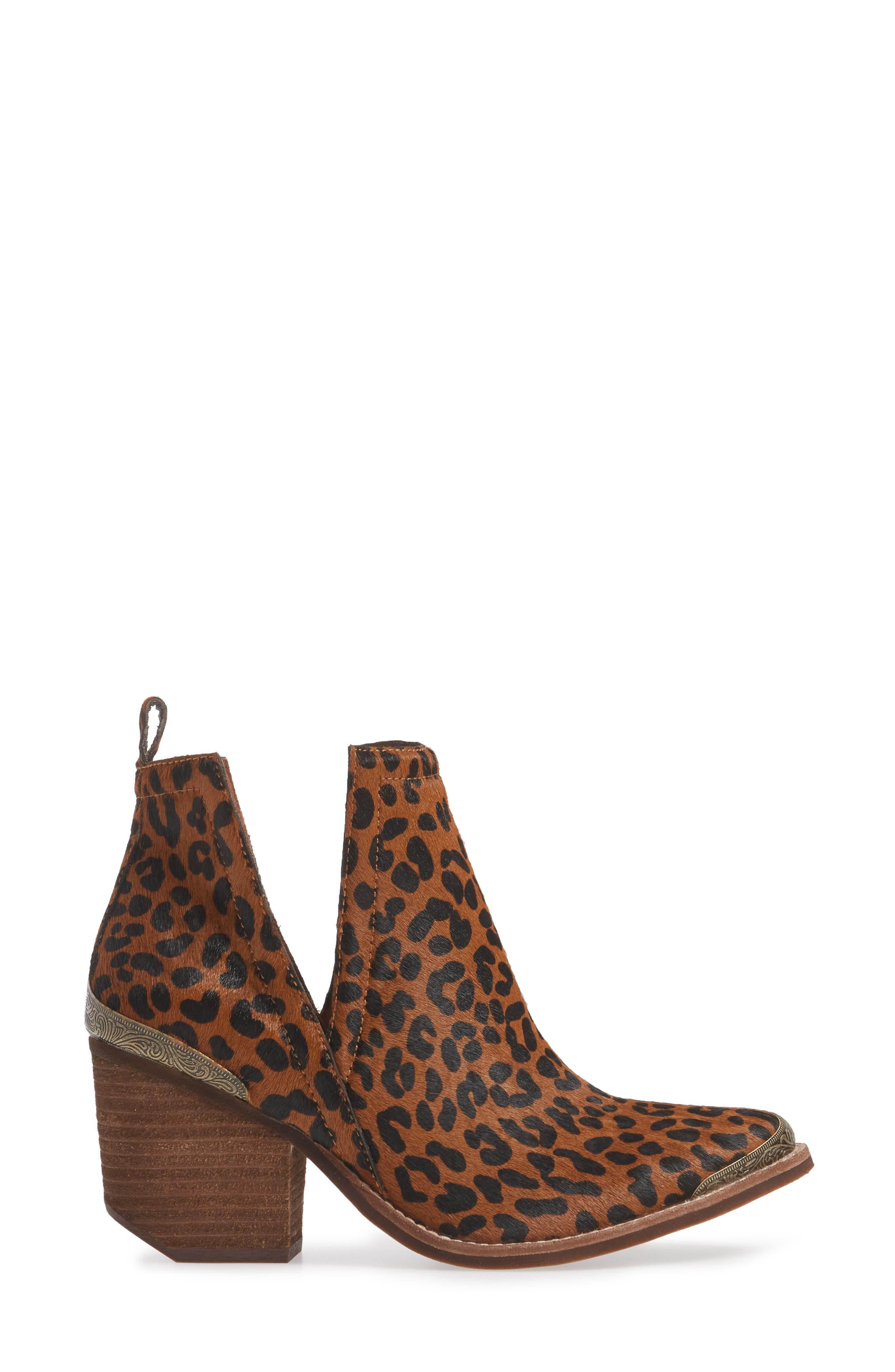 JEFFREY CAMPBELL, Cromwell Cutout Genuine Calf Hair Western Boot, Alternate thumbnail 3, color, BROWN CHEETAH CALF HAIR