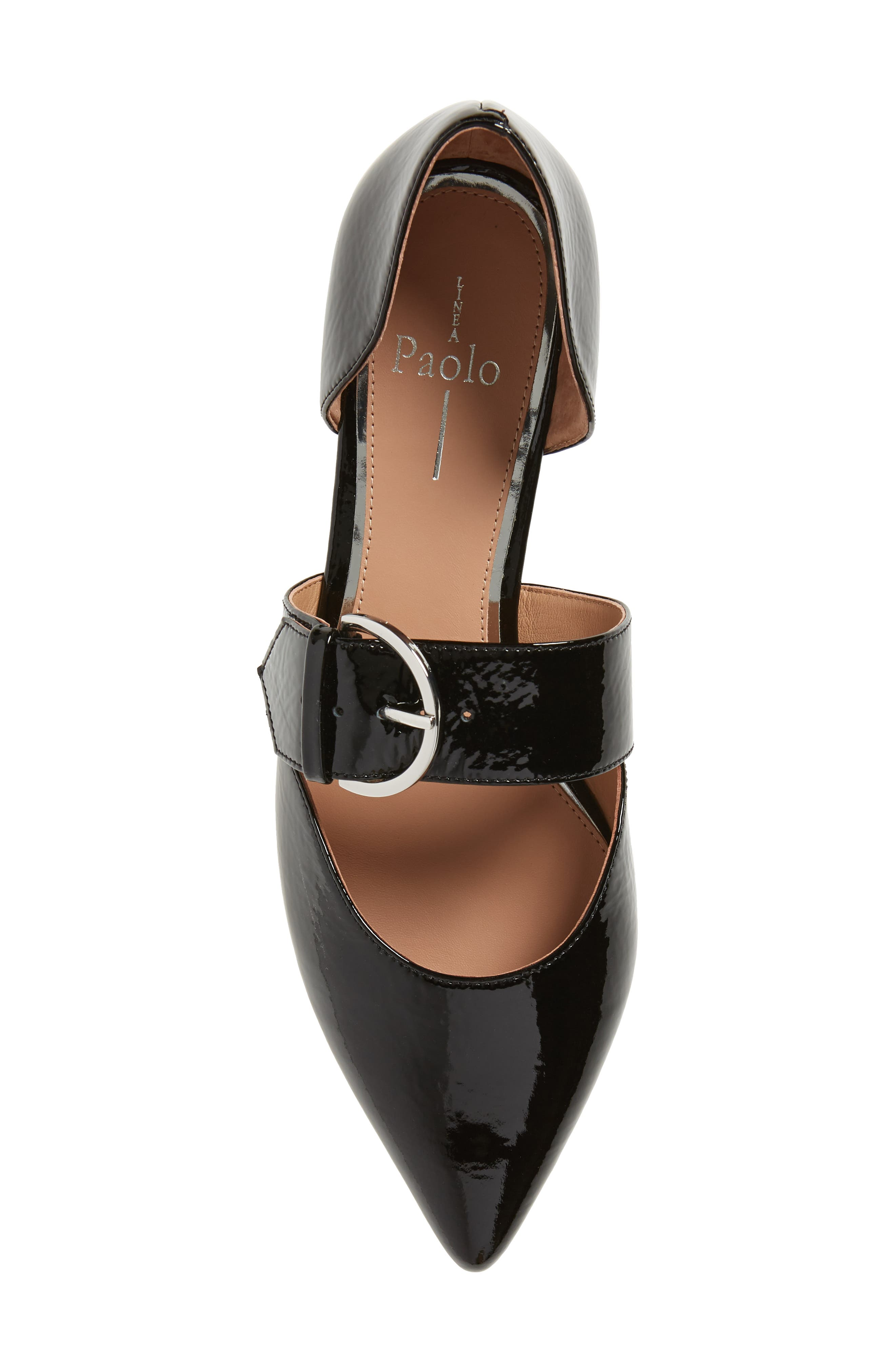 LINEA PAOLO, Dean Pointy Toe Flat, Alternate thumbnail 5, color, BLACK WRINKLE PATENT