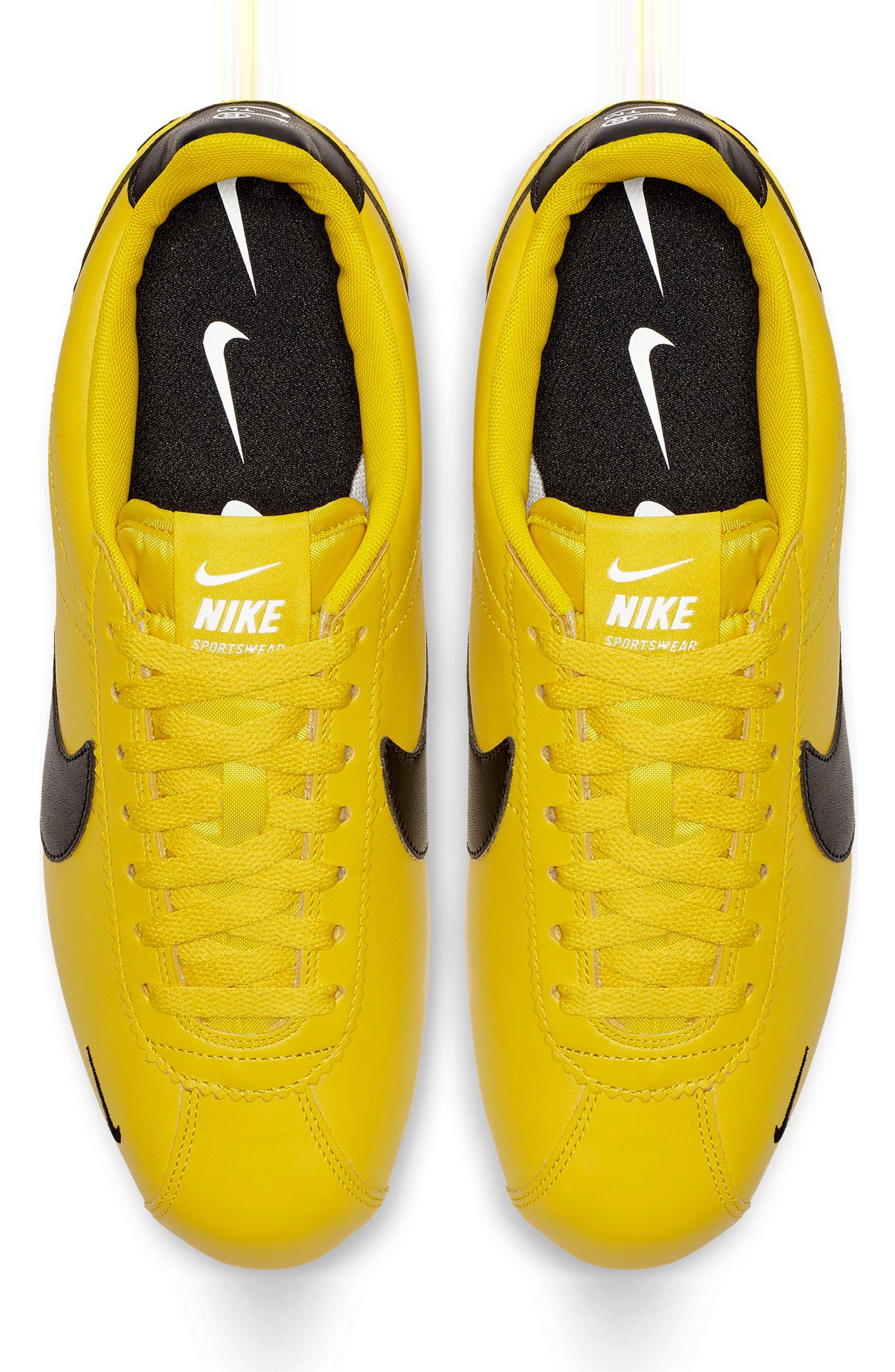 NIKE, Classic Cortez Premium Sneaker, Alternate thumbnail 4, color, BRIGHT CITRON/ BLACK/ WHITE