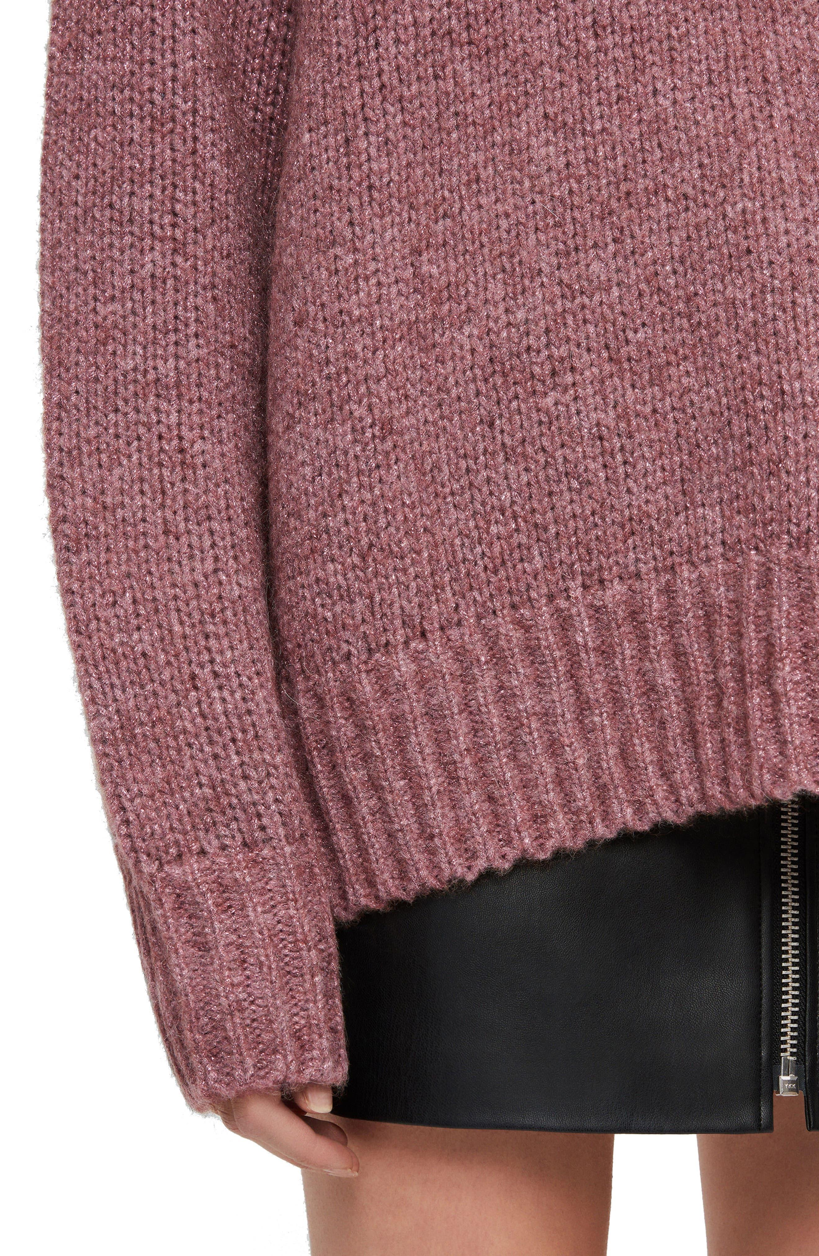 ALLSAINTS, Gemini Metallic Knit Sweater, Alternate thumbnail 4, color, 653